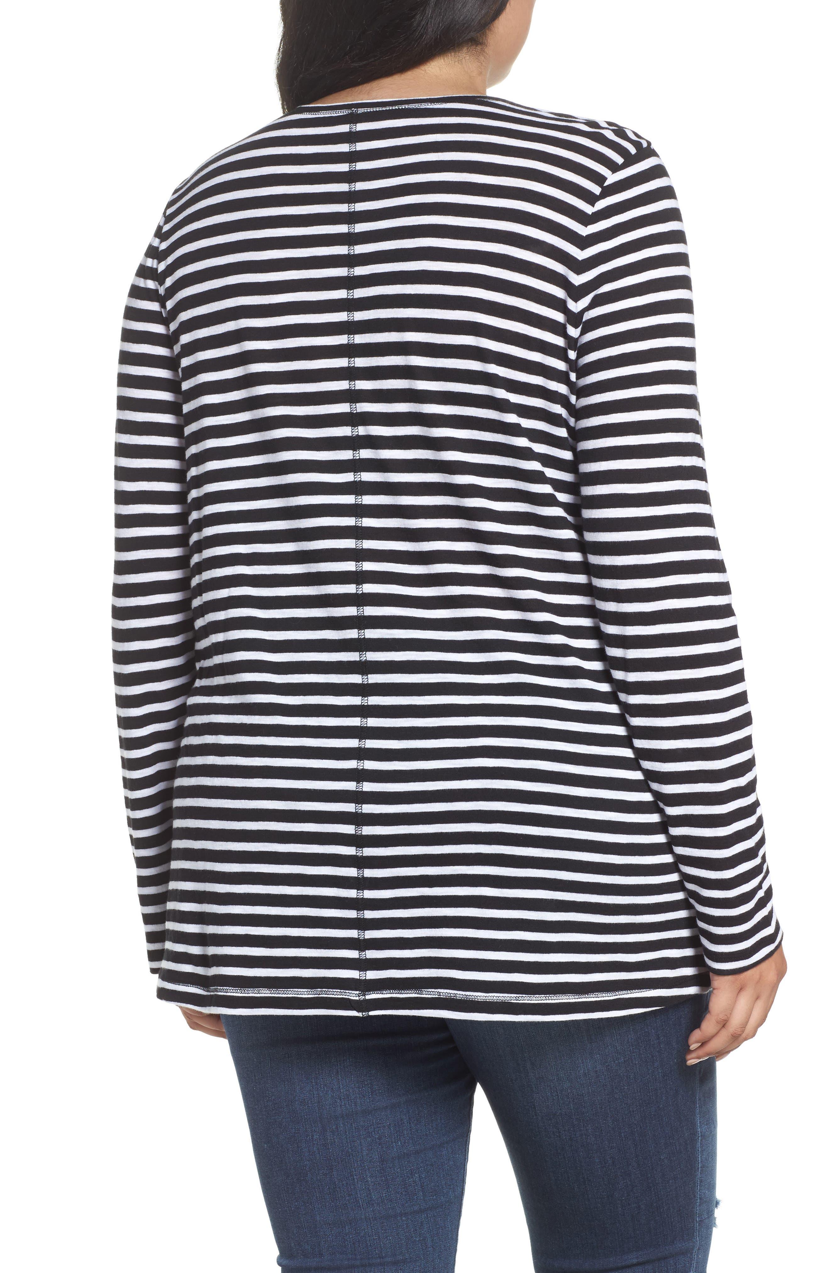 Long Sleeve Crewneck Tee,                             Alternate thumbnail 18, color,                             Black- White Maisie Stripe