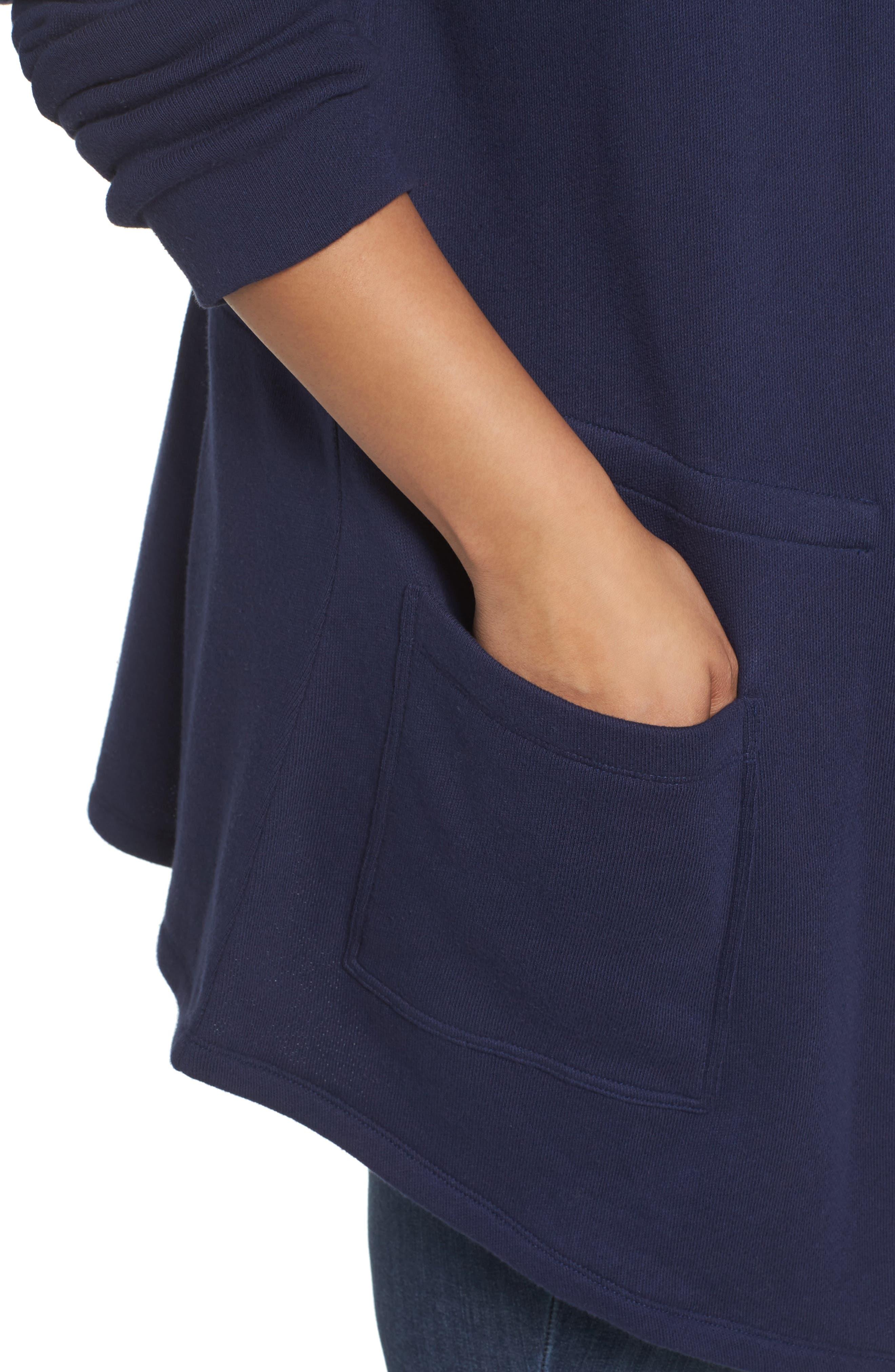 Knit Drape Front Jacket,                             Alternate thumbnail 4, color,                             Navy Peacoat