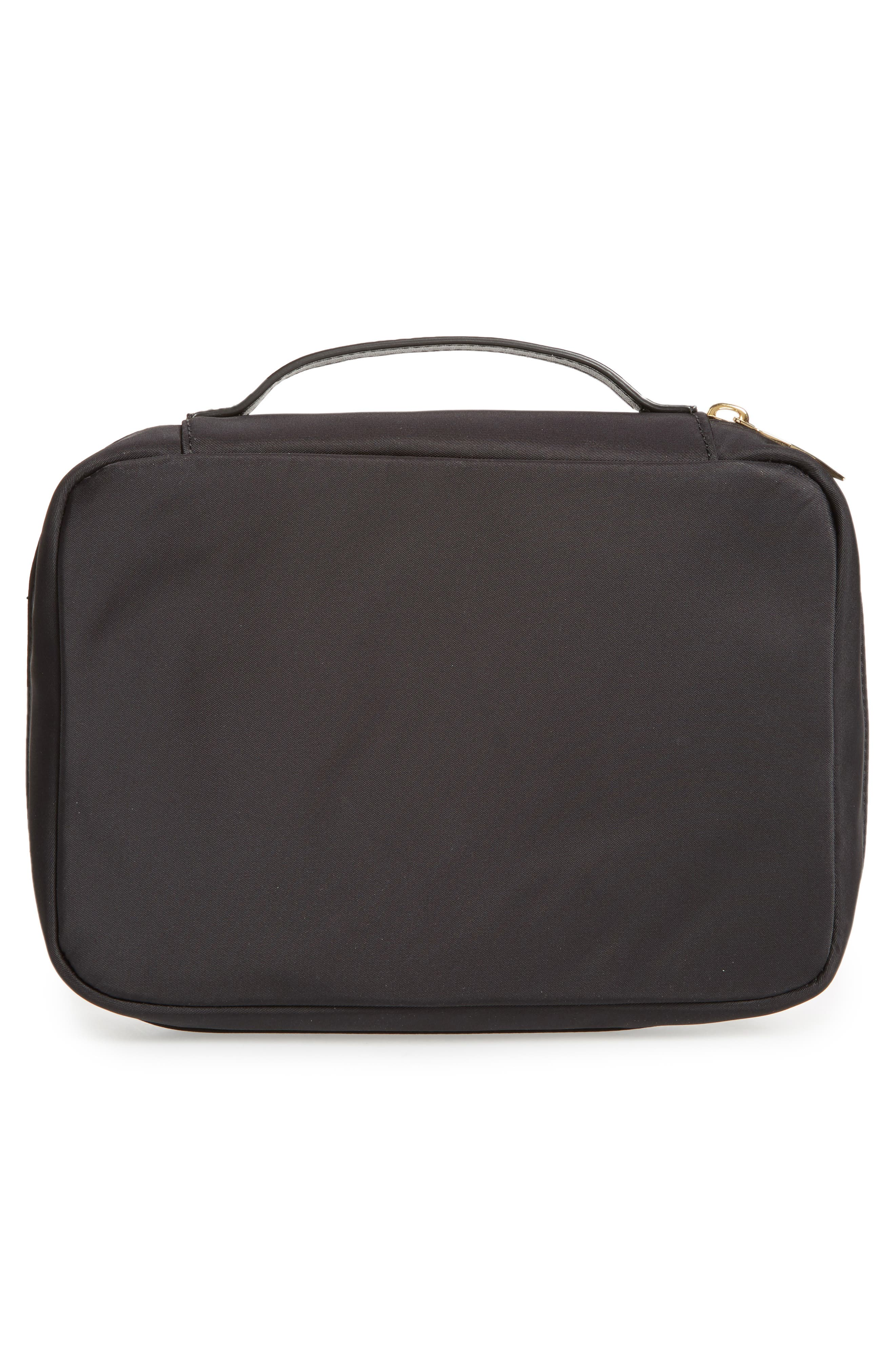 classic baylor nylon cosmetics case,                             Alternate thumbnail 2, color,                             Black