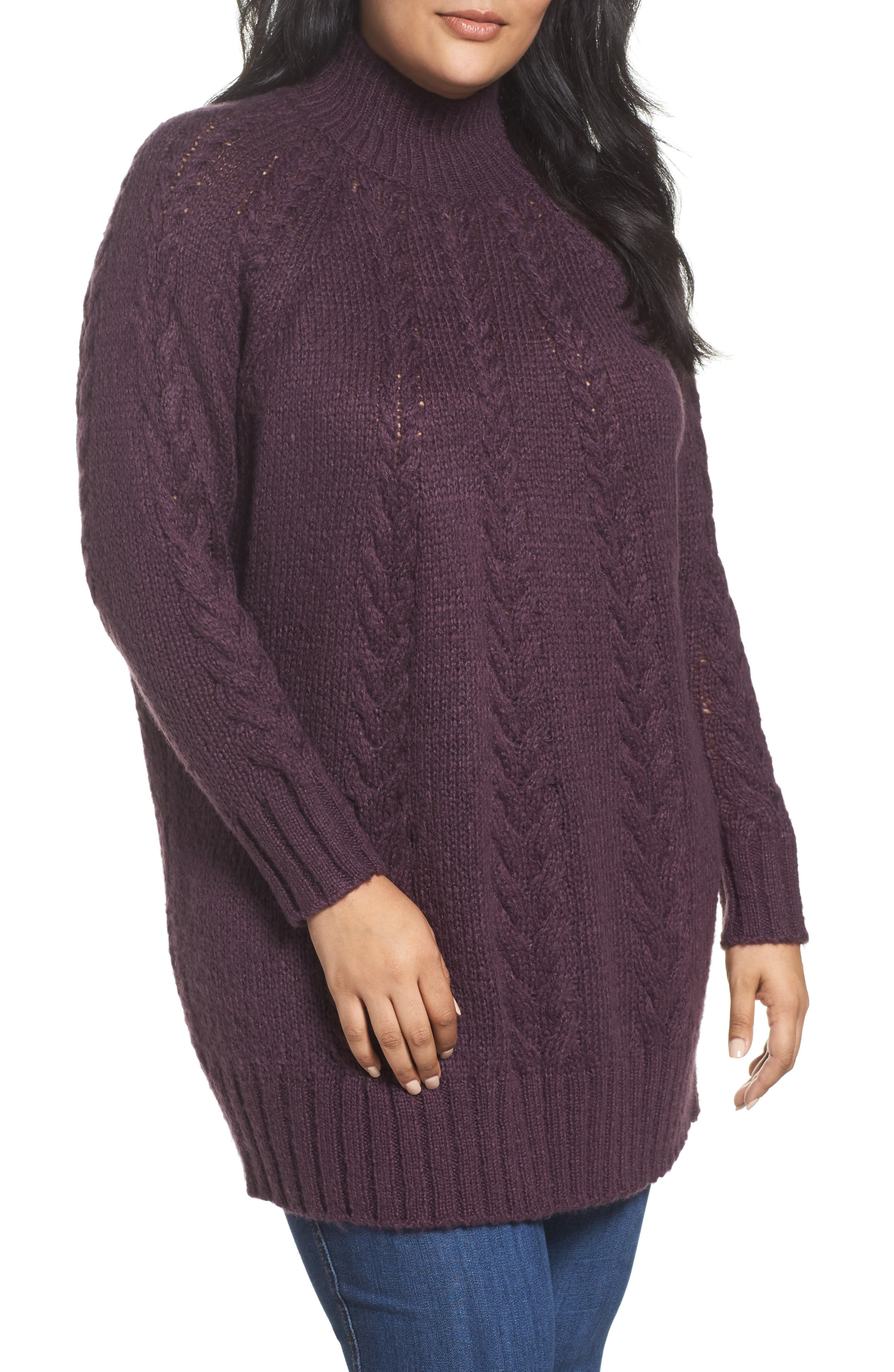 Caslon® Cable Knit Tunic Sweater (Plus Size)