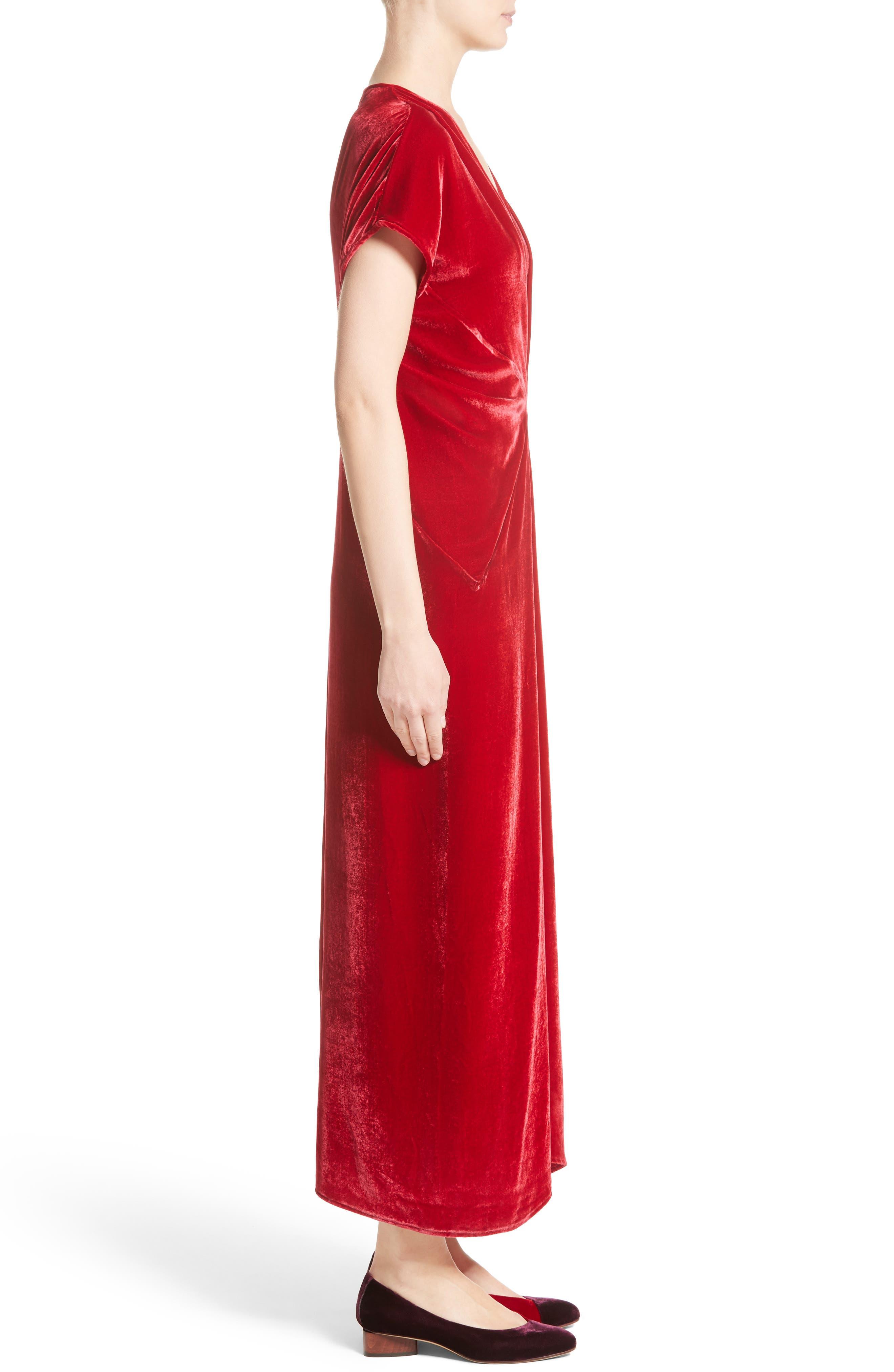 Sana Velvet Dress,                             Alternate thumbnail 3, color,                             Crimson