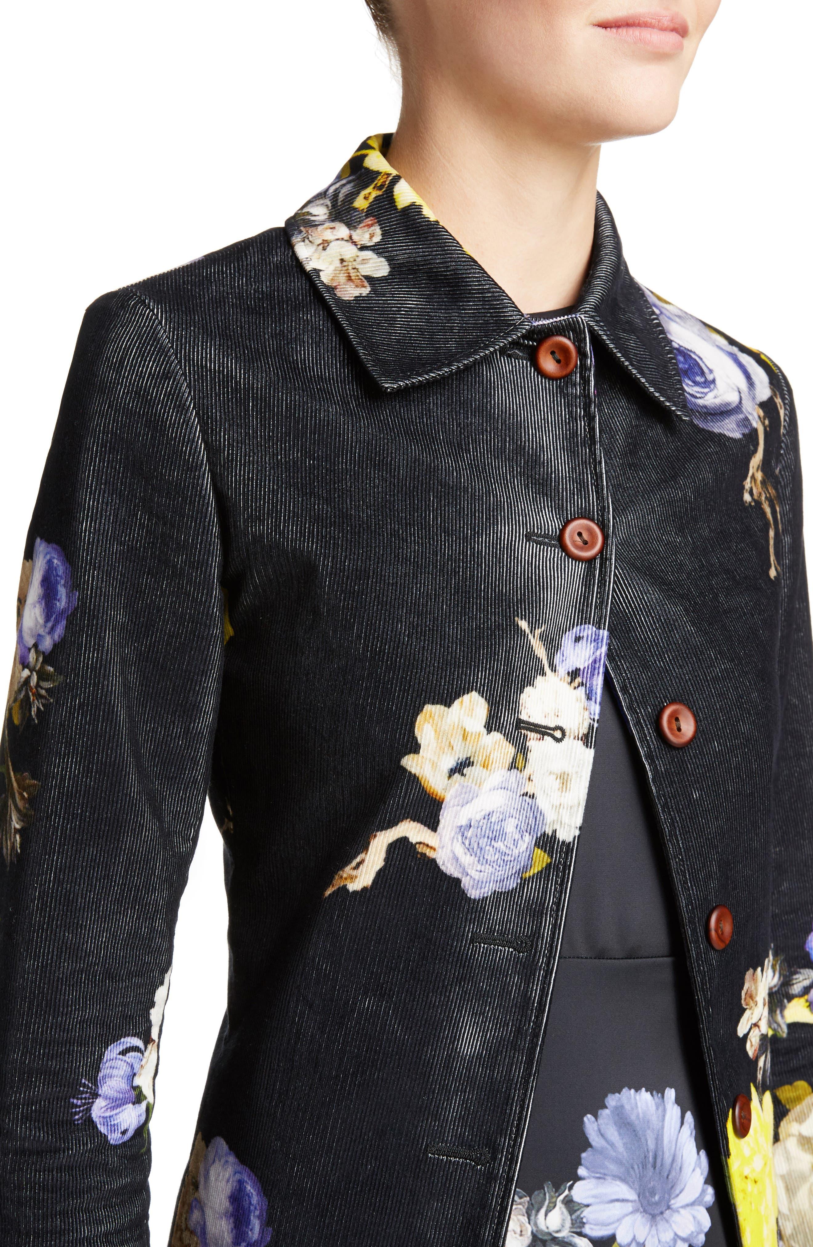 Okki Floral Print Bracelet Sleeve Coat,                             Alternate thumbnail 4, color,                             Big Flower Black