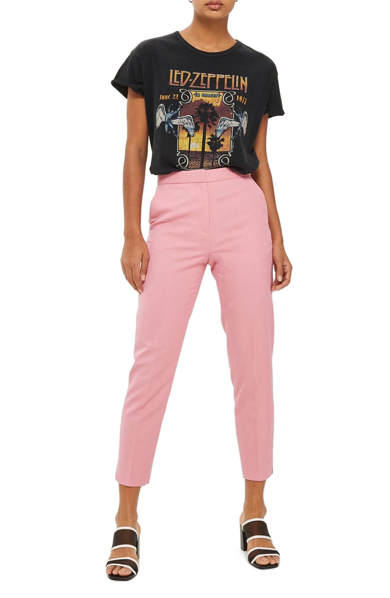 Tailored Cigarette Trousers,                         Main,                         color, Pink