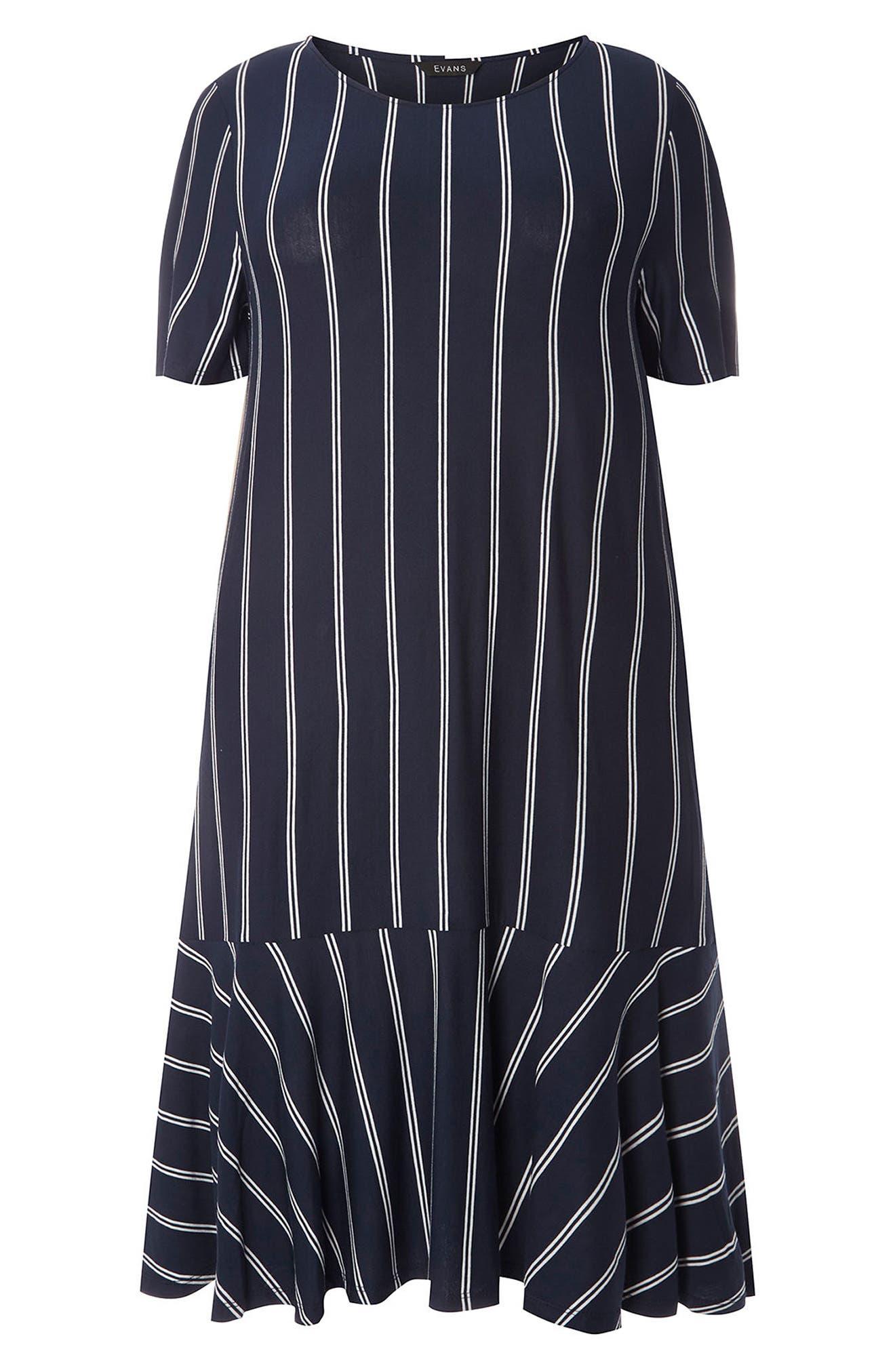 Evans Flounce Hem Stripe Dress (Plus Size)