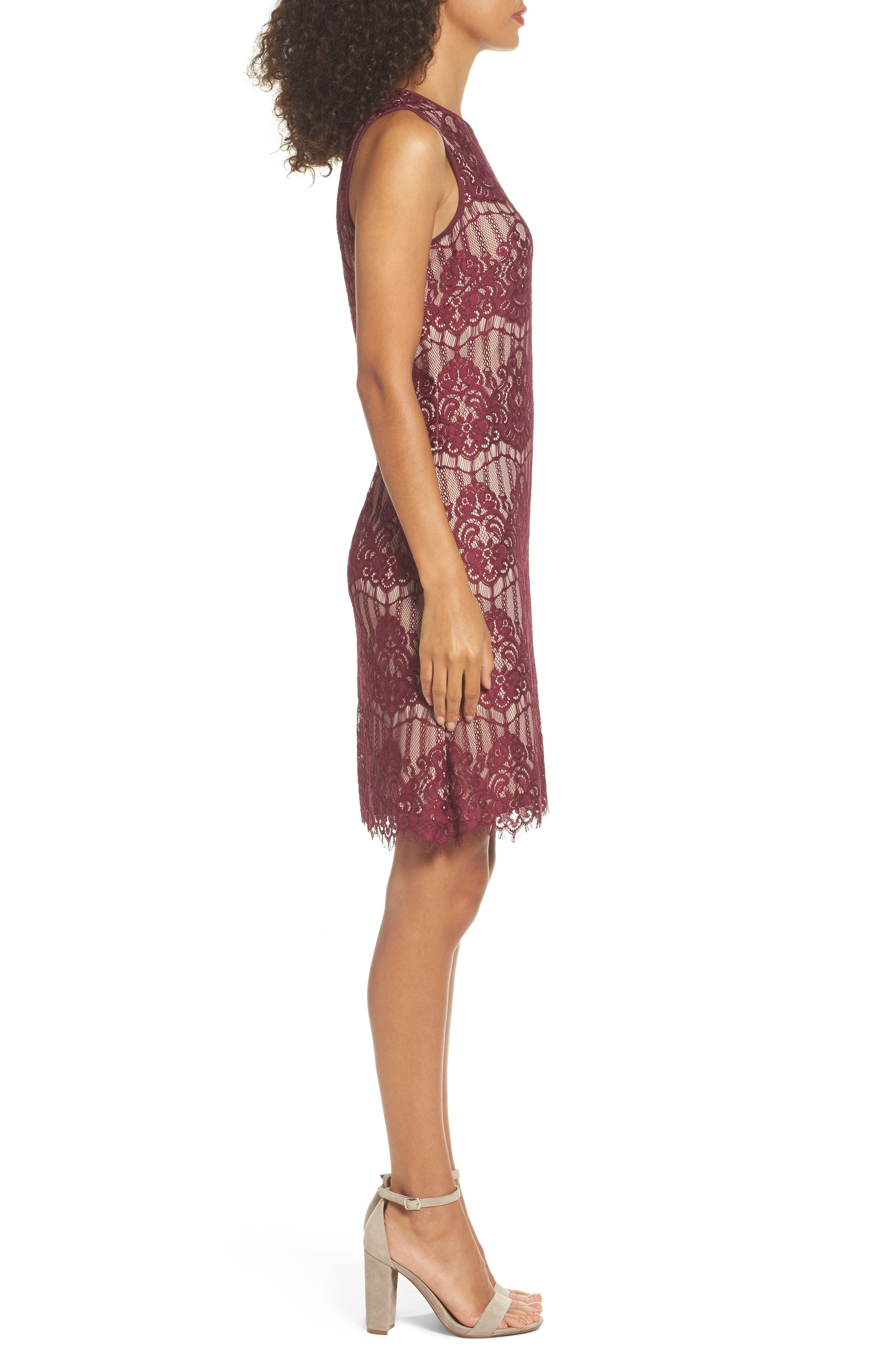 Scalloped Lace Sheath Dress,                             Alternate thumbnail 3, color,                             Burgundy