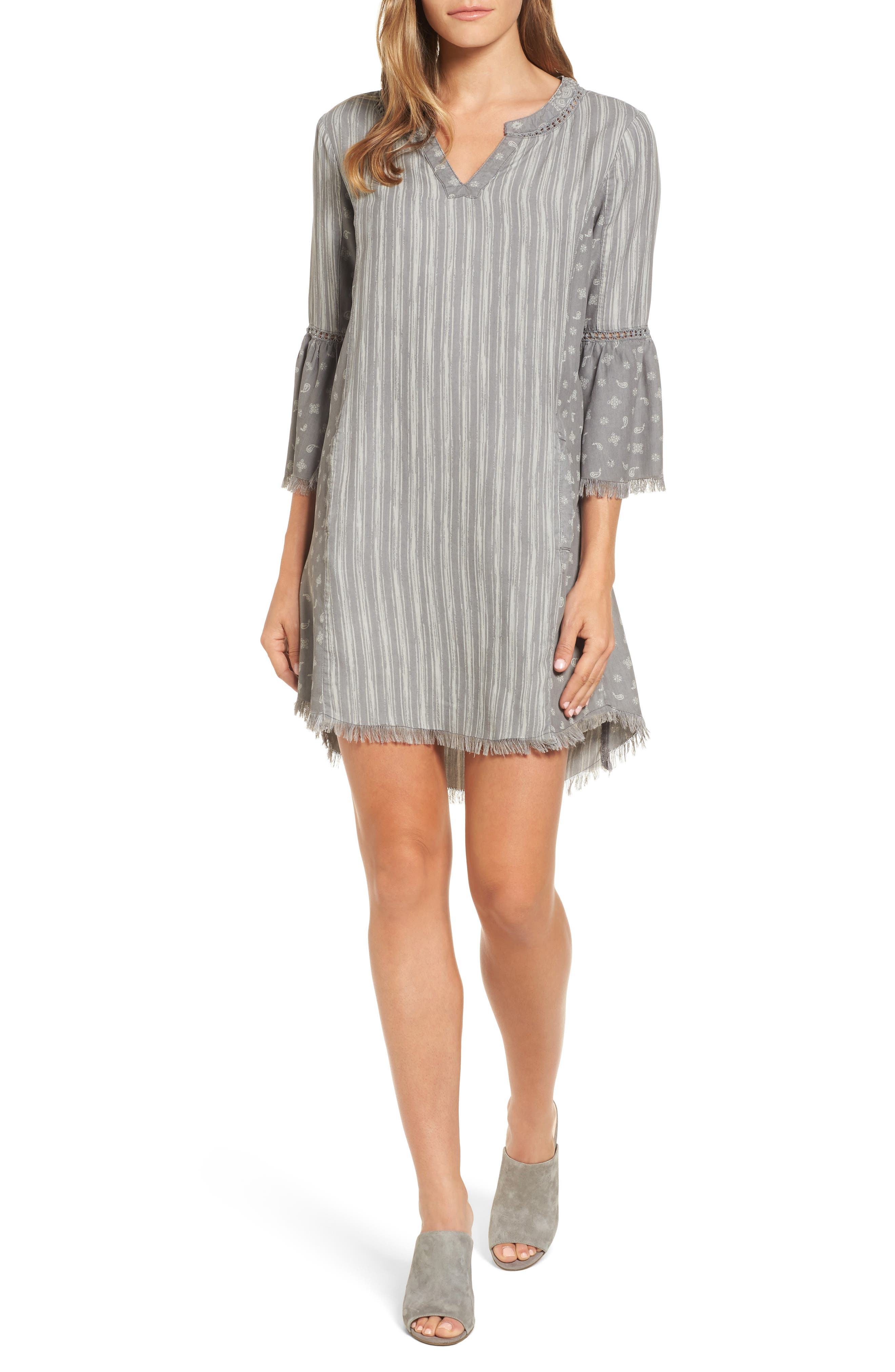 Bell Sleeve Shift Dress,                         Main,                         color, Grey Mix
