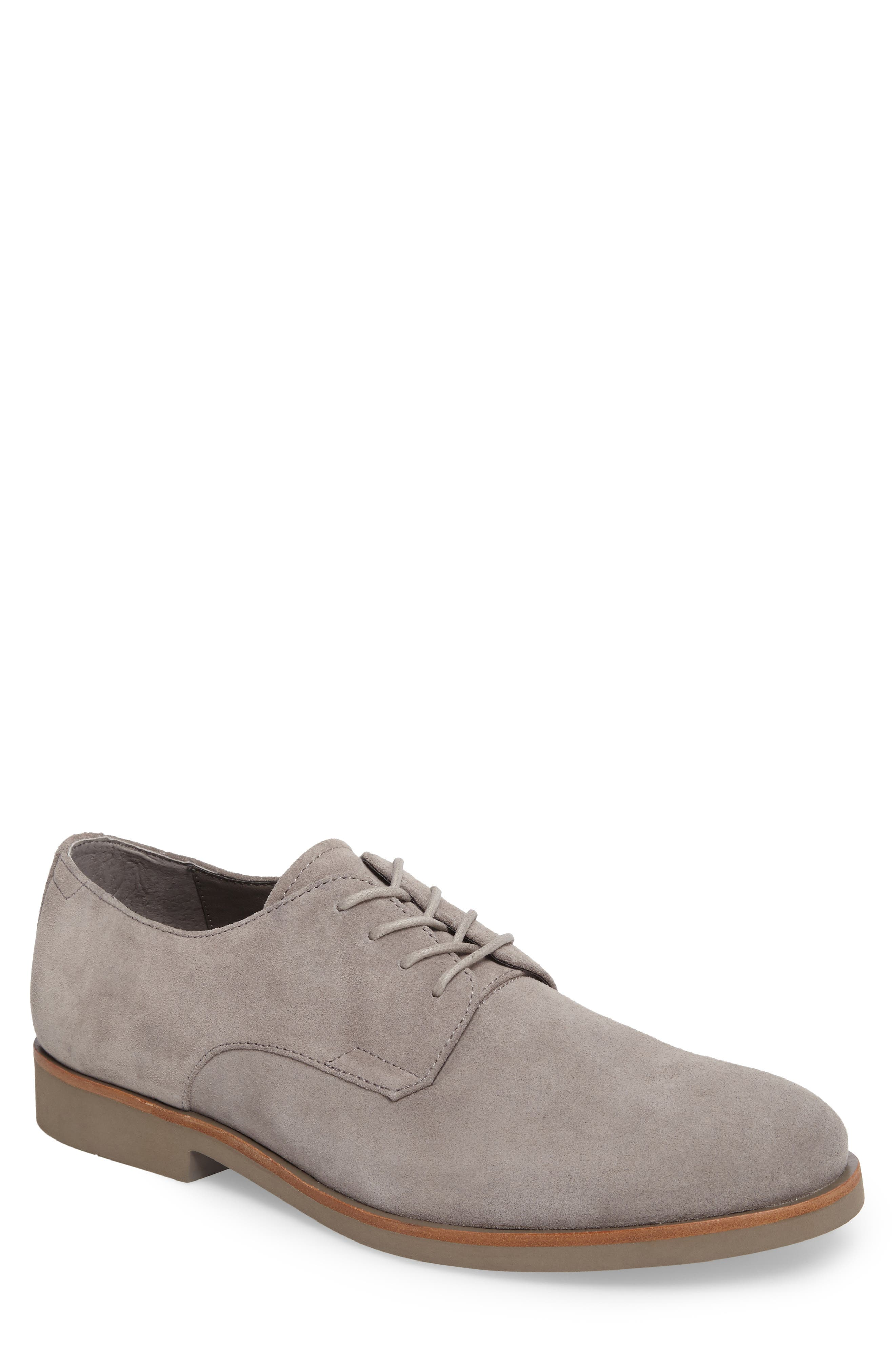 Faustino Plain Toe Derby,                         Main,                         color, Toffee Suede
