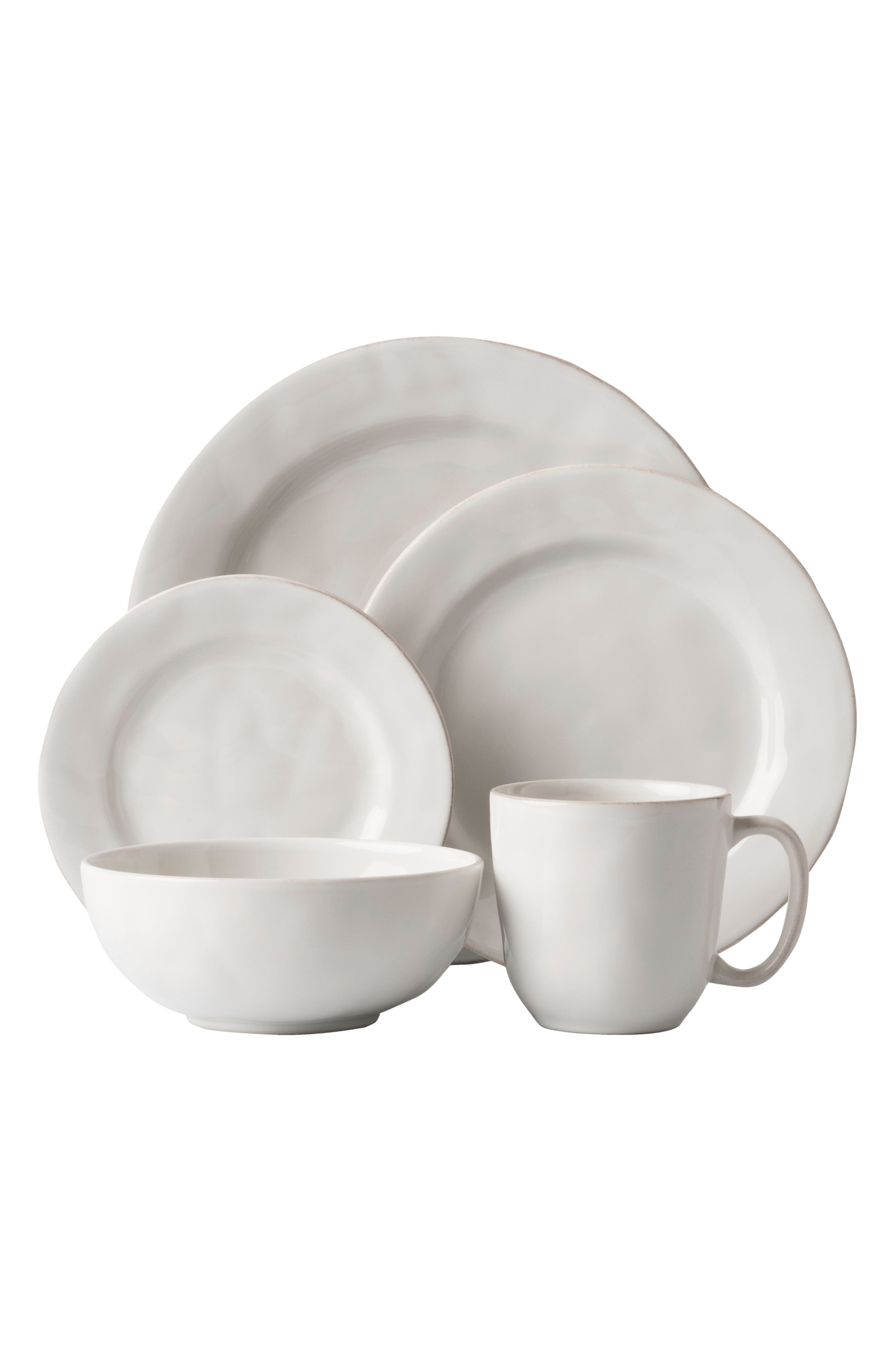 'Puro' 5-Piece Dinnerware Place Setting,                             Main thumbnail 1, color,                             White