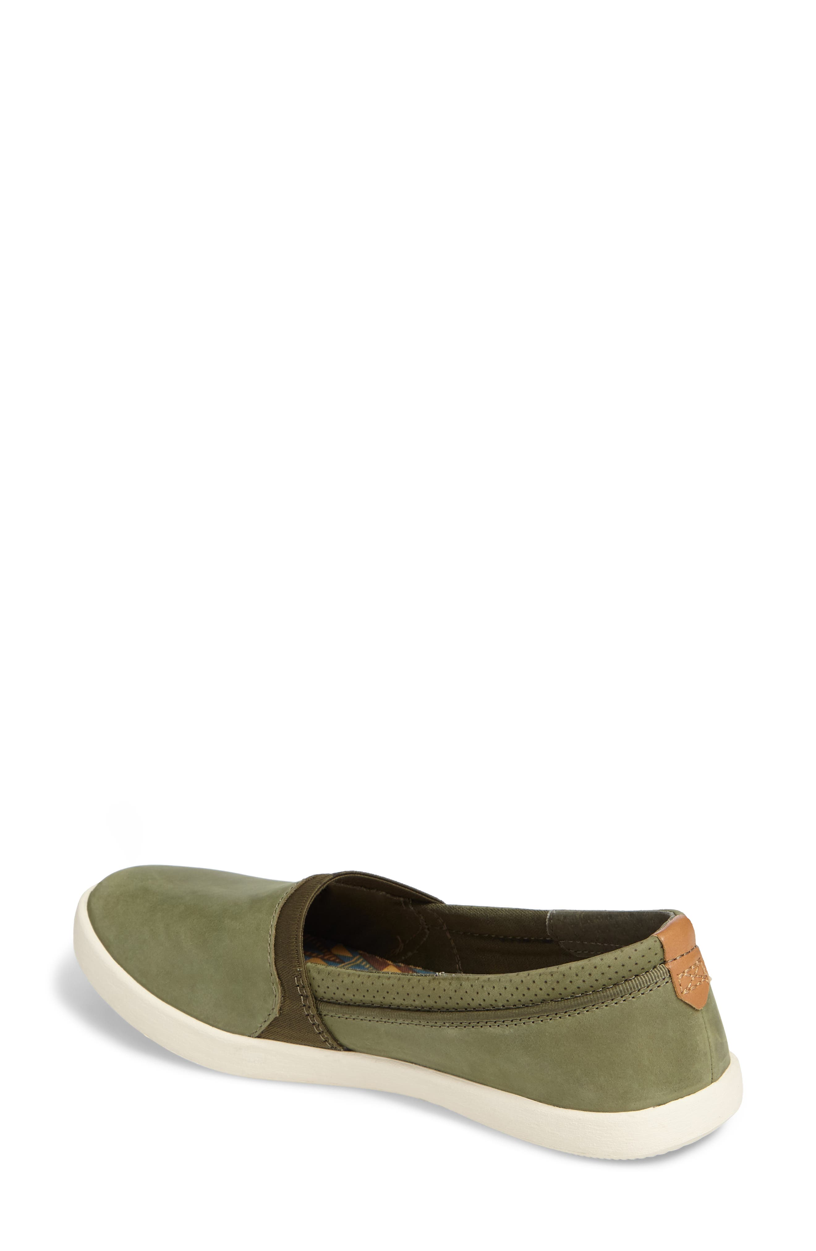 Willow Slip-On Sneaker,                             Alternate thumbnail 2, color,                             Olive Leather