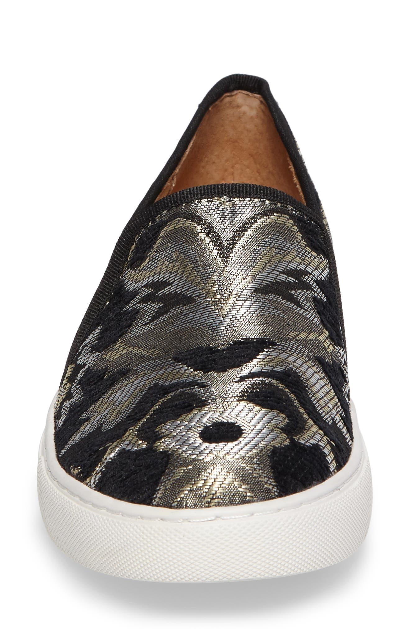 Skipper Slip-On Sneaker,                             Alternate thumbnail 4, color,                             Black Brocade Leather