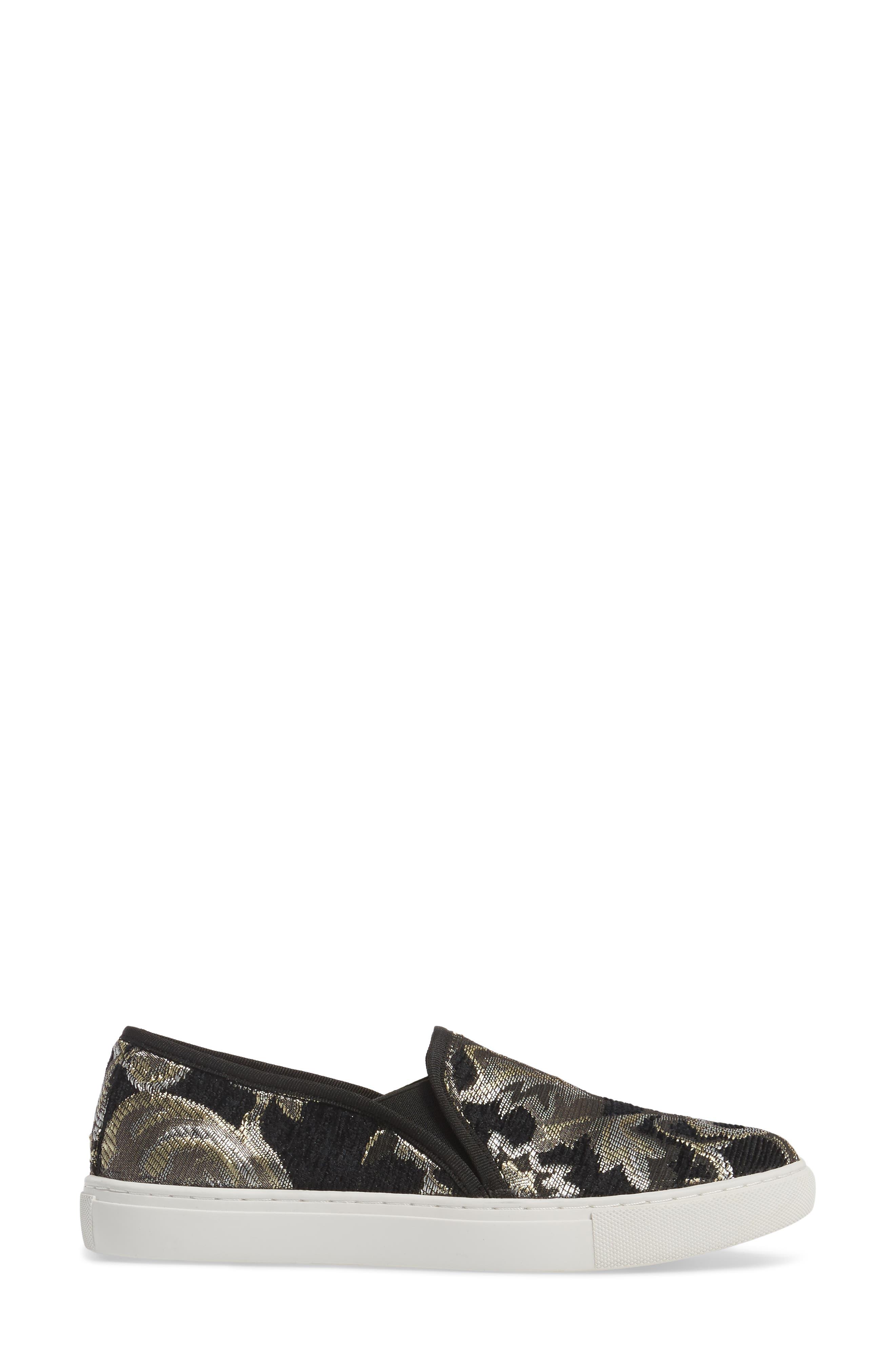 Skipper Slip-On Sneaker,                             Alternate thumbnail 3, color,                             Black Brocade Leather