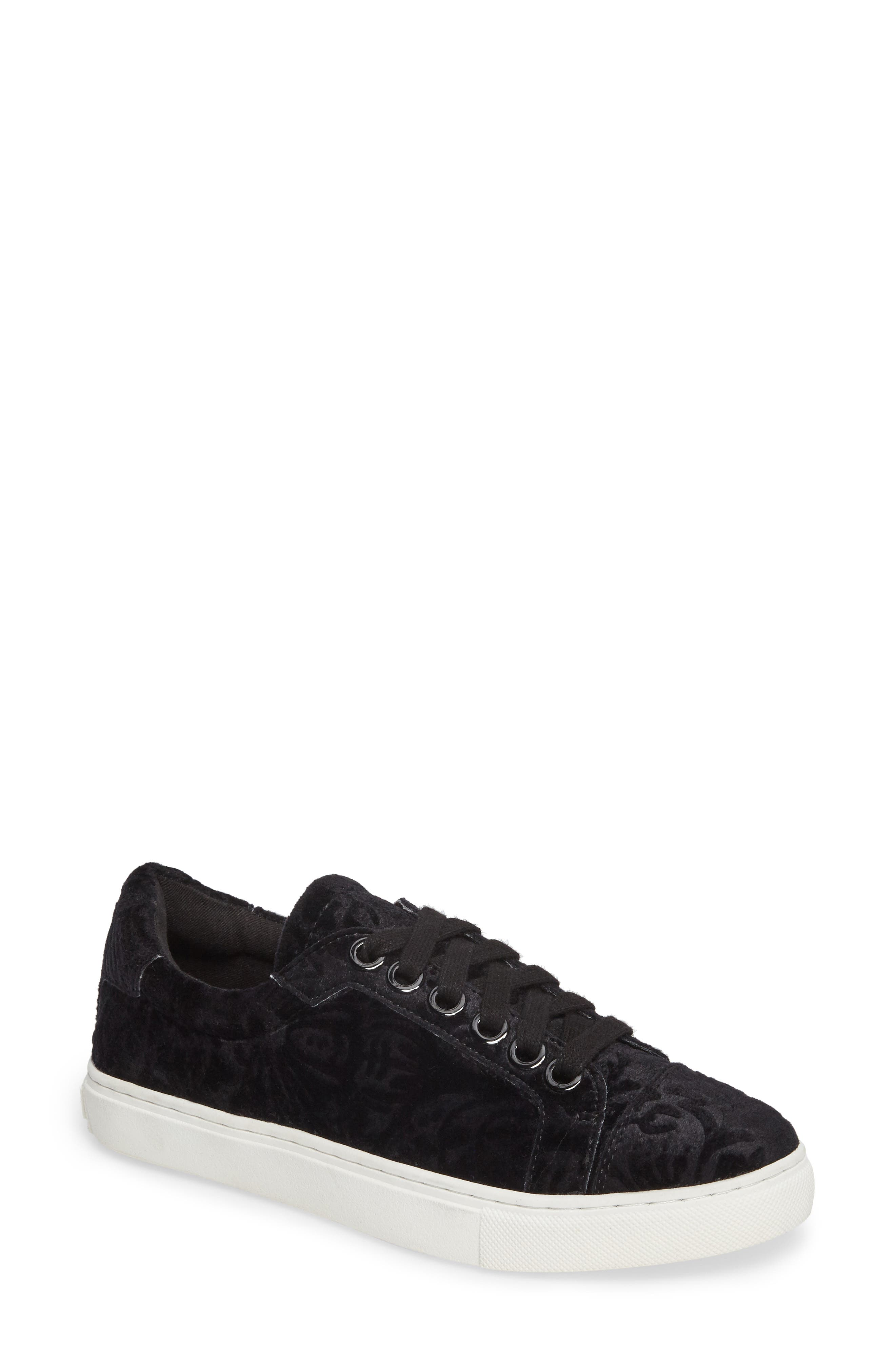 Bleecker Too Sneaker,                             Main thumbnail 1, color,                             Black Floral Velvet