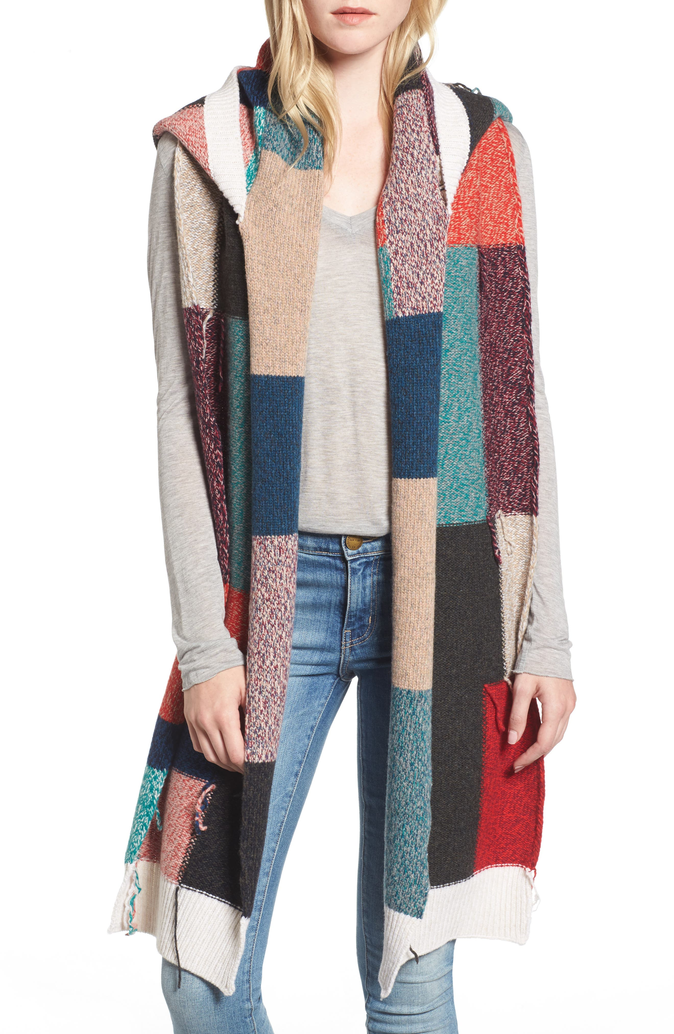 Stella McCartney Hooded Virgin Wool Patchwork Scarf
