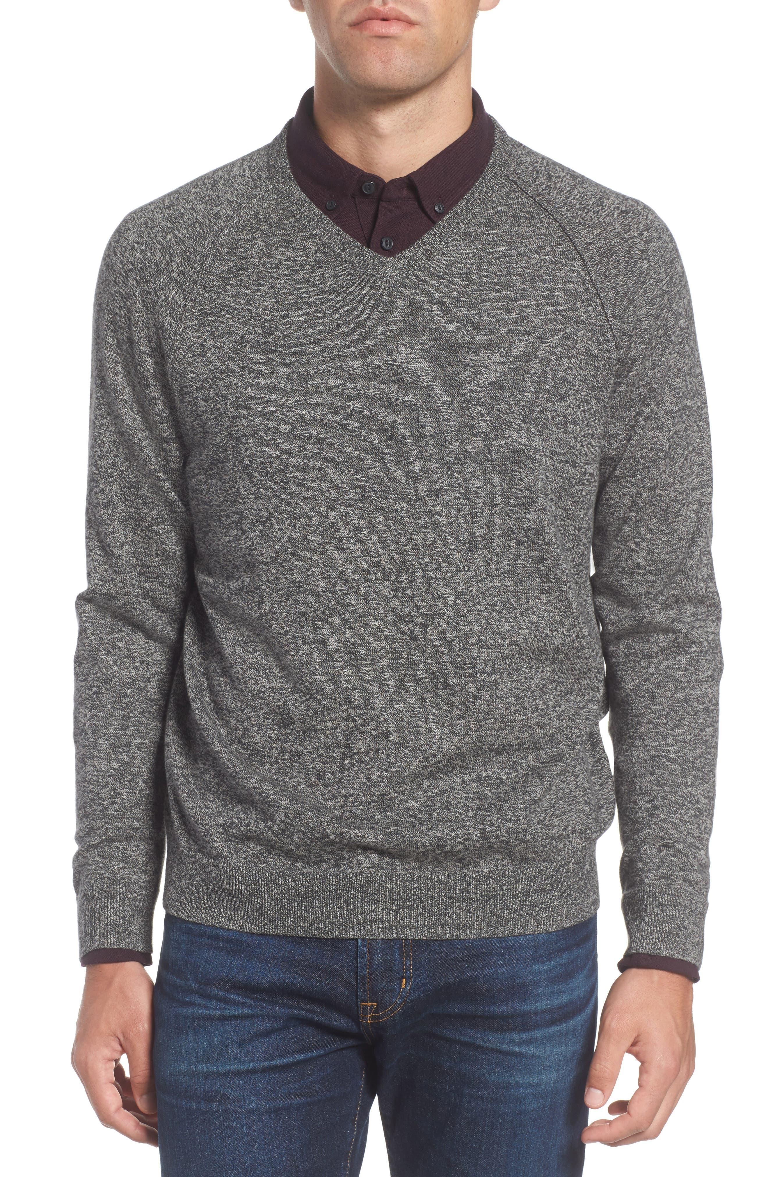 Alternate Image 1 Selected - Nordstrom Men's Shop Saddle Shoulder Cotton & Cashmere V-Neck Sweater