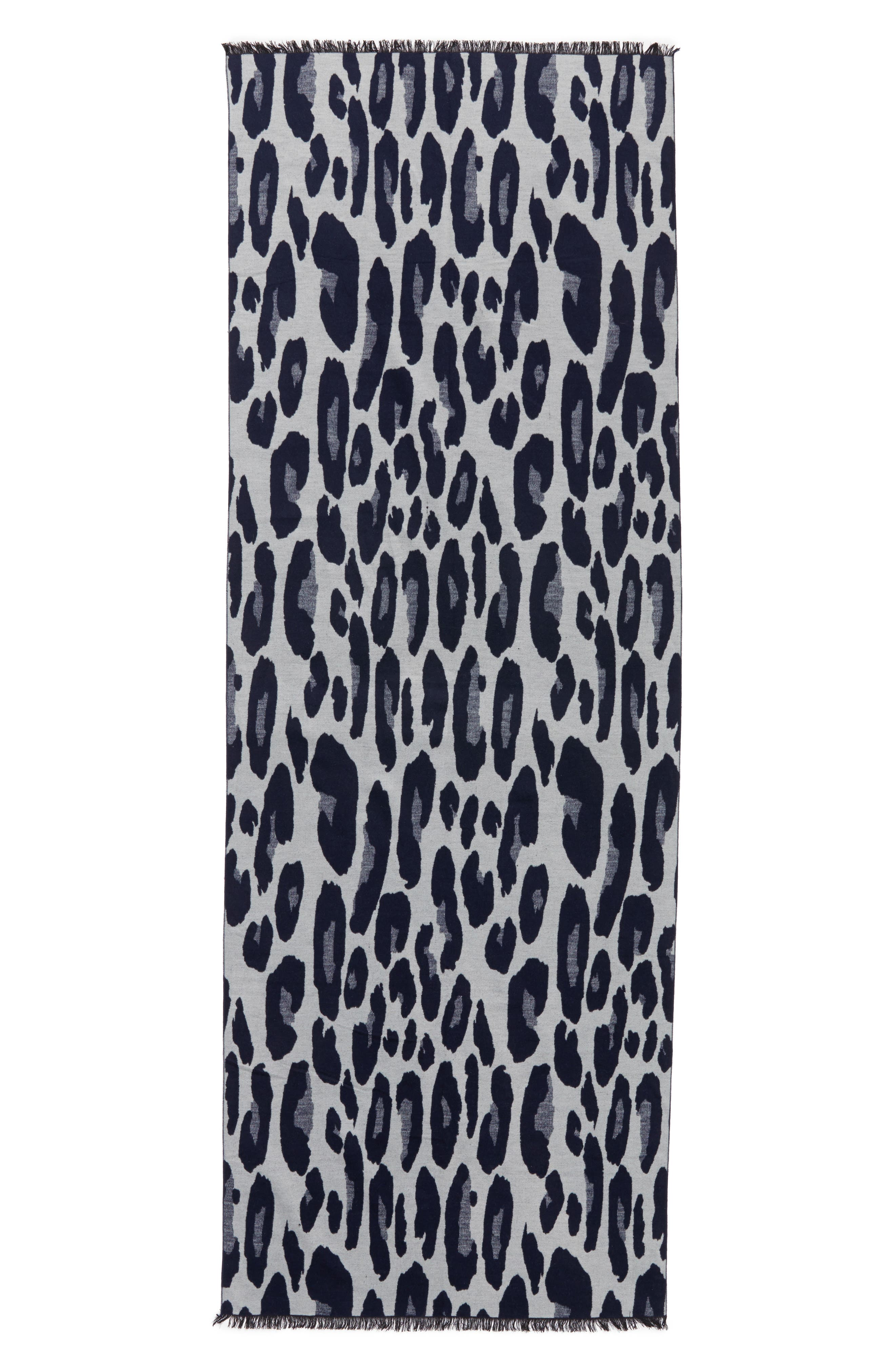 Leopard Print Brushed Silk Scarf,                             Alternate thumbnail 2, color,                             Navy