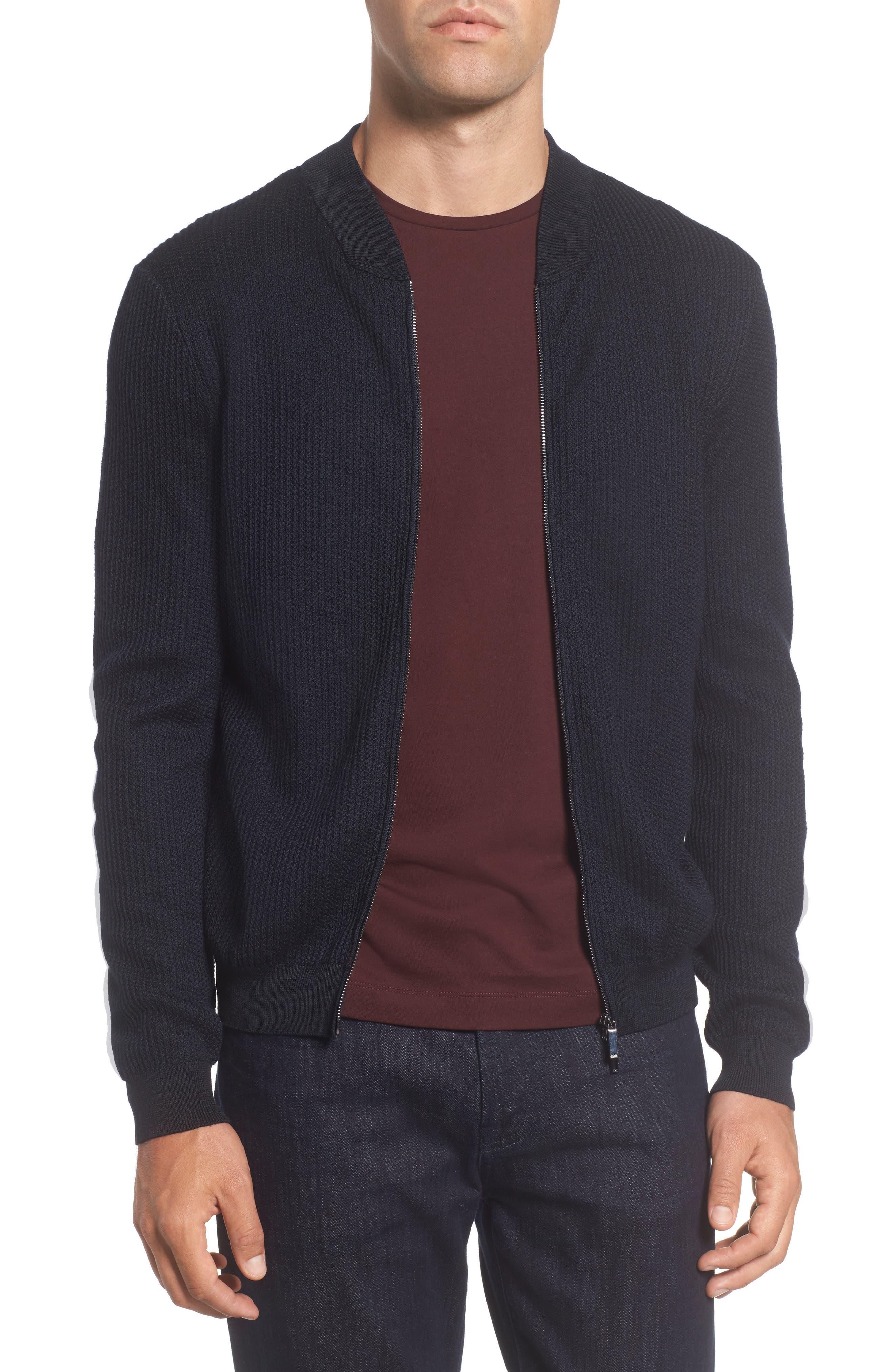 BOSS Slim Fit Wool & Silk Zip Cardigan