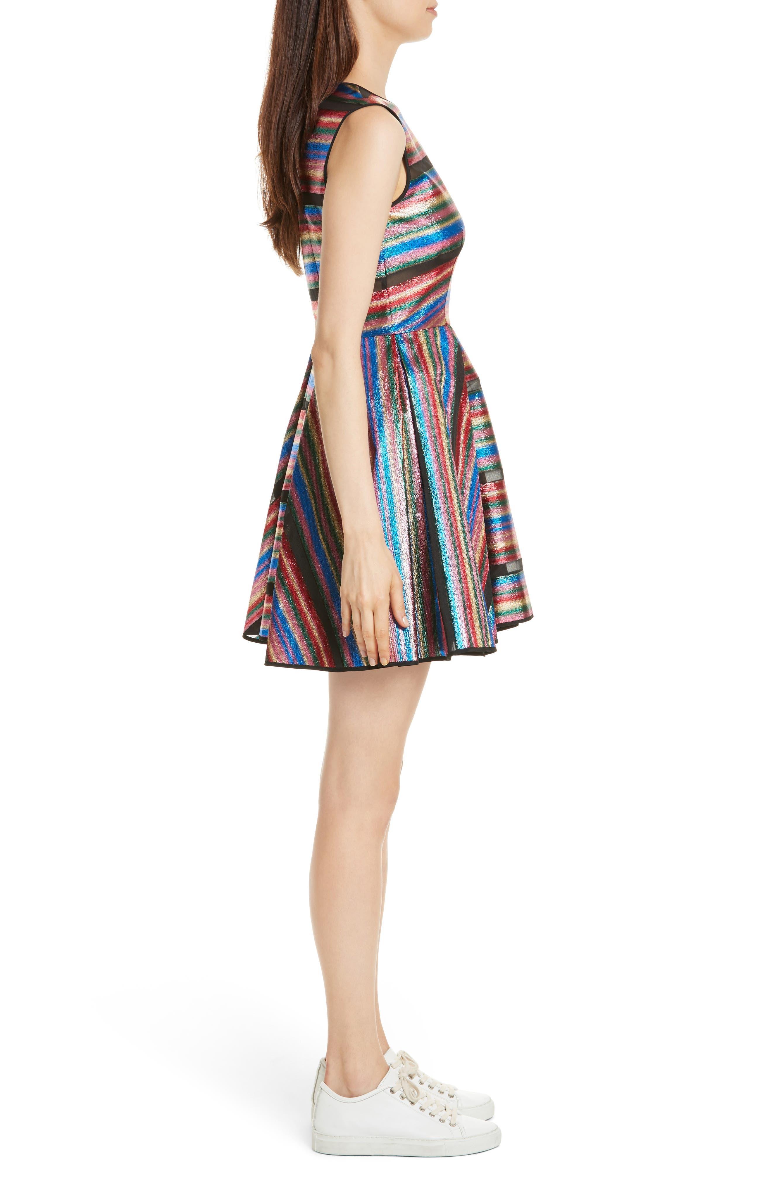 Balli Metallic Stripe Fit & Flare Dress,                             Alternate thumbnail 3, color,                             Multi