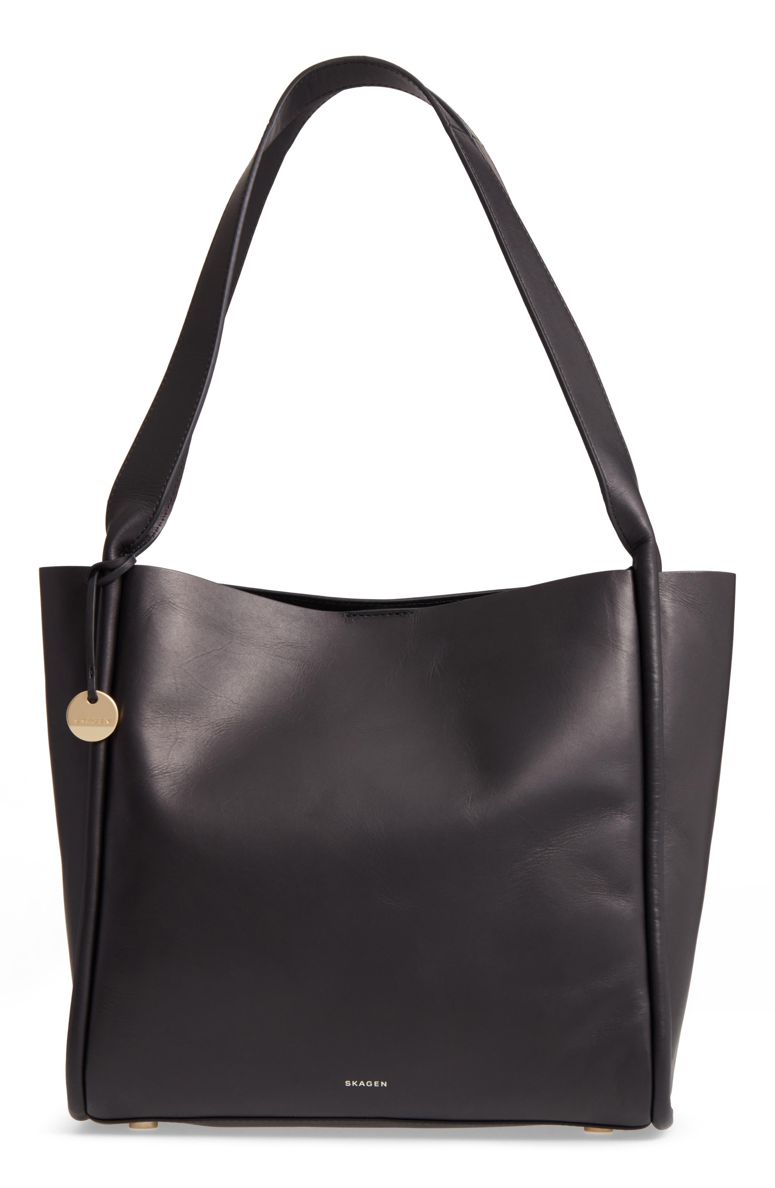 Karalie Leather Shoulder Bag,                             Main thumbnail 1, color,                             Black