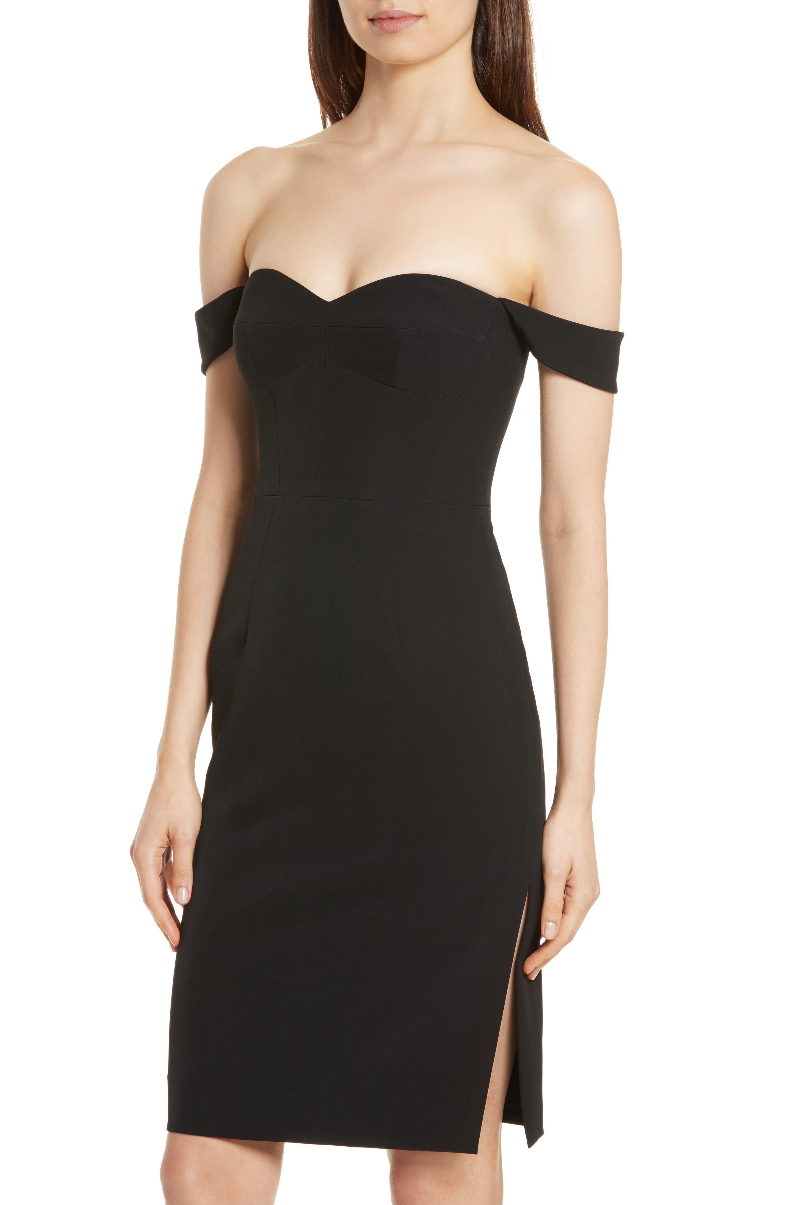 Karen Italian Cady Off the Shoulder Dress,                             Alternate thumbnail 4, color,                             Black