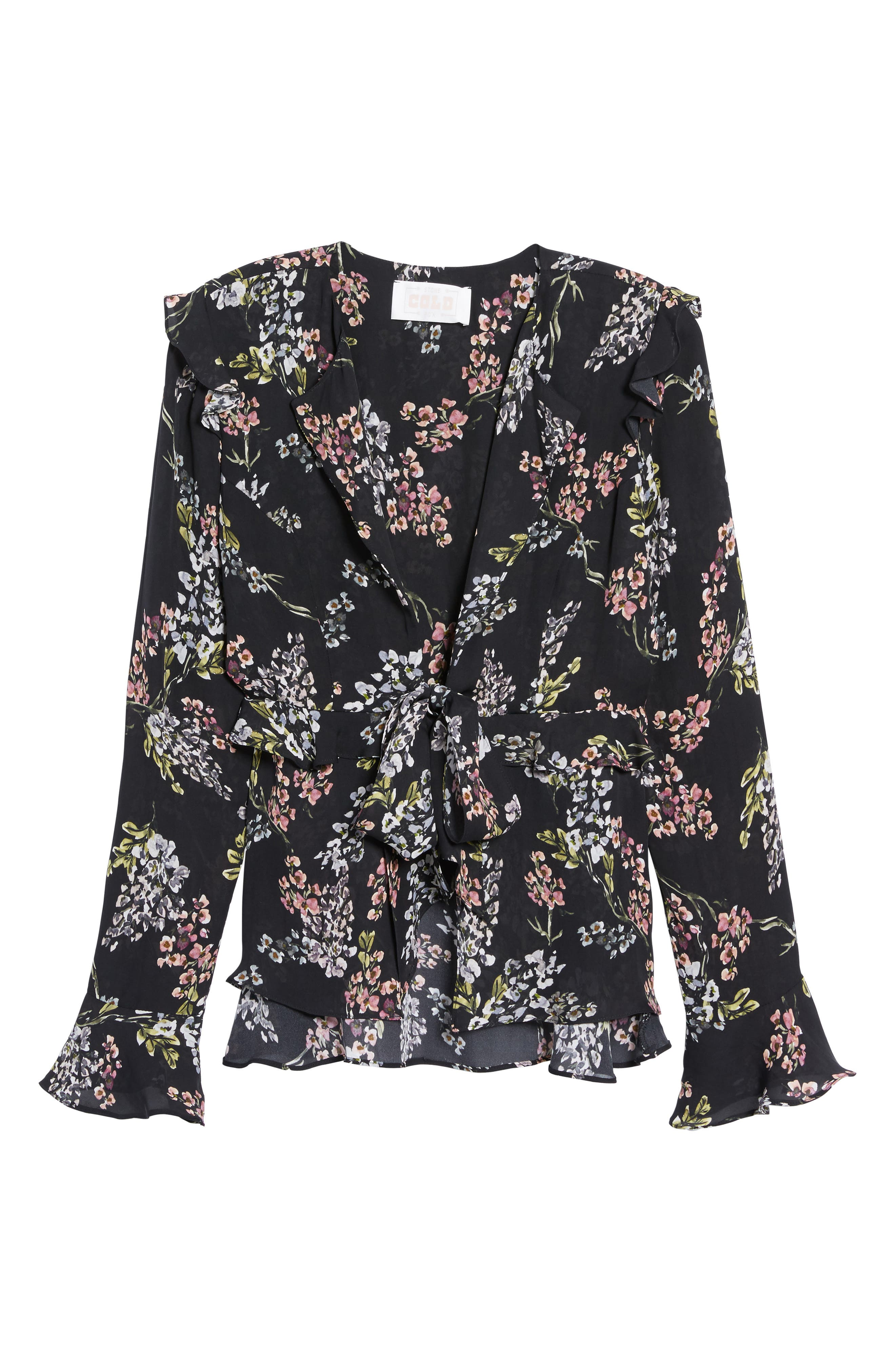 Connery Silk Blouse,                             Alternate thumbnail 6, color,                             Black Autumn