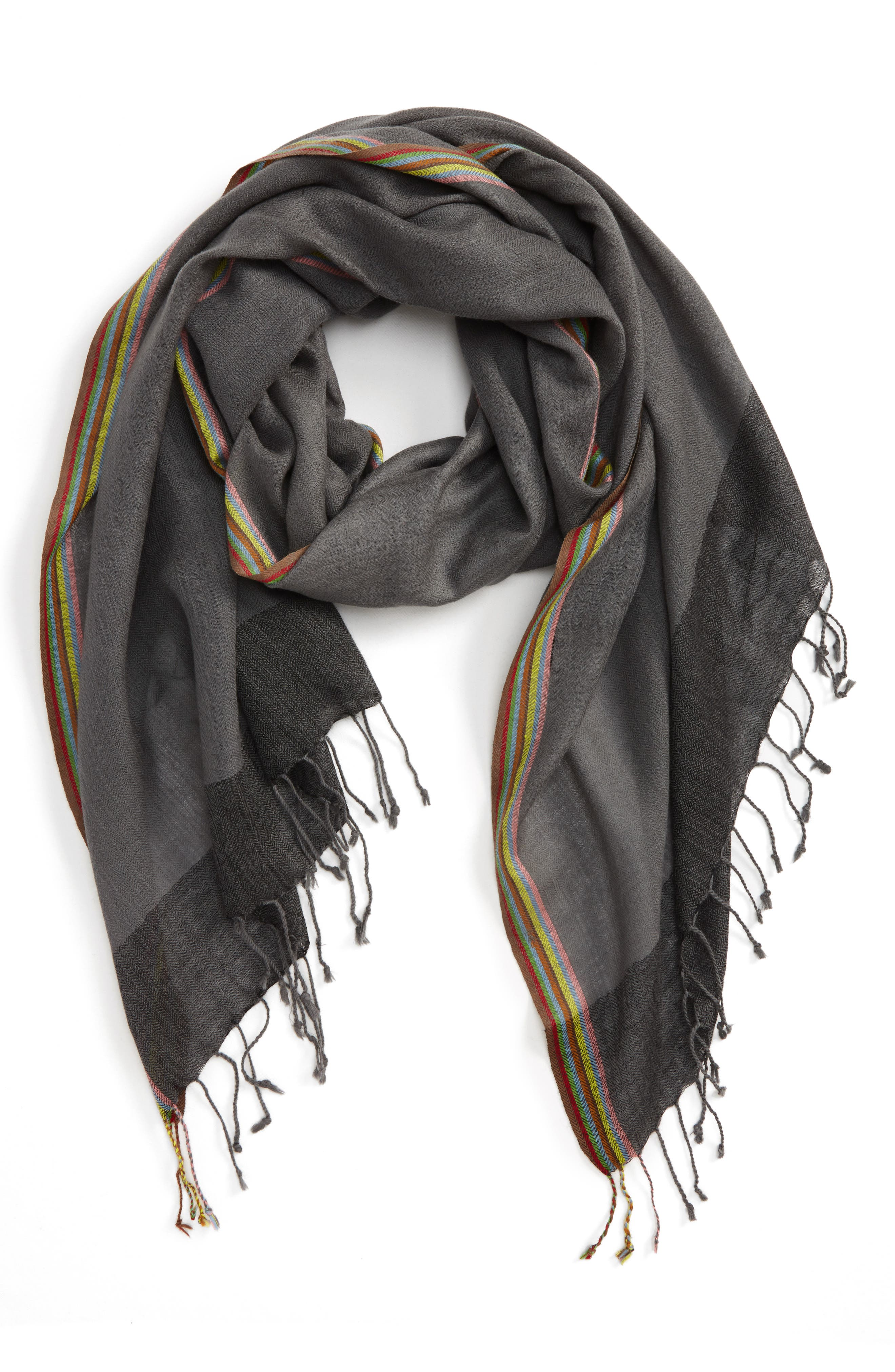 Stripe Herringbone Wool Scarf,                             Main thumbnail 1, color,                             Grey