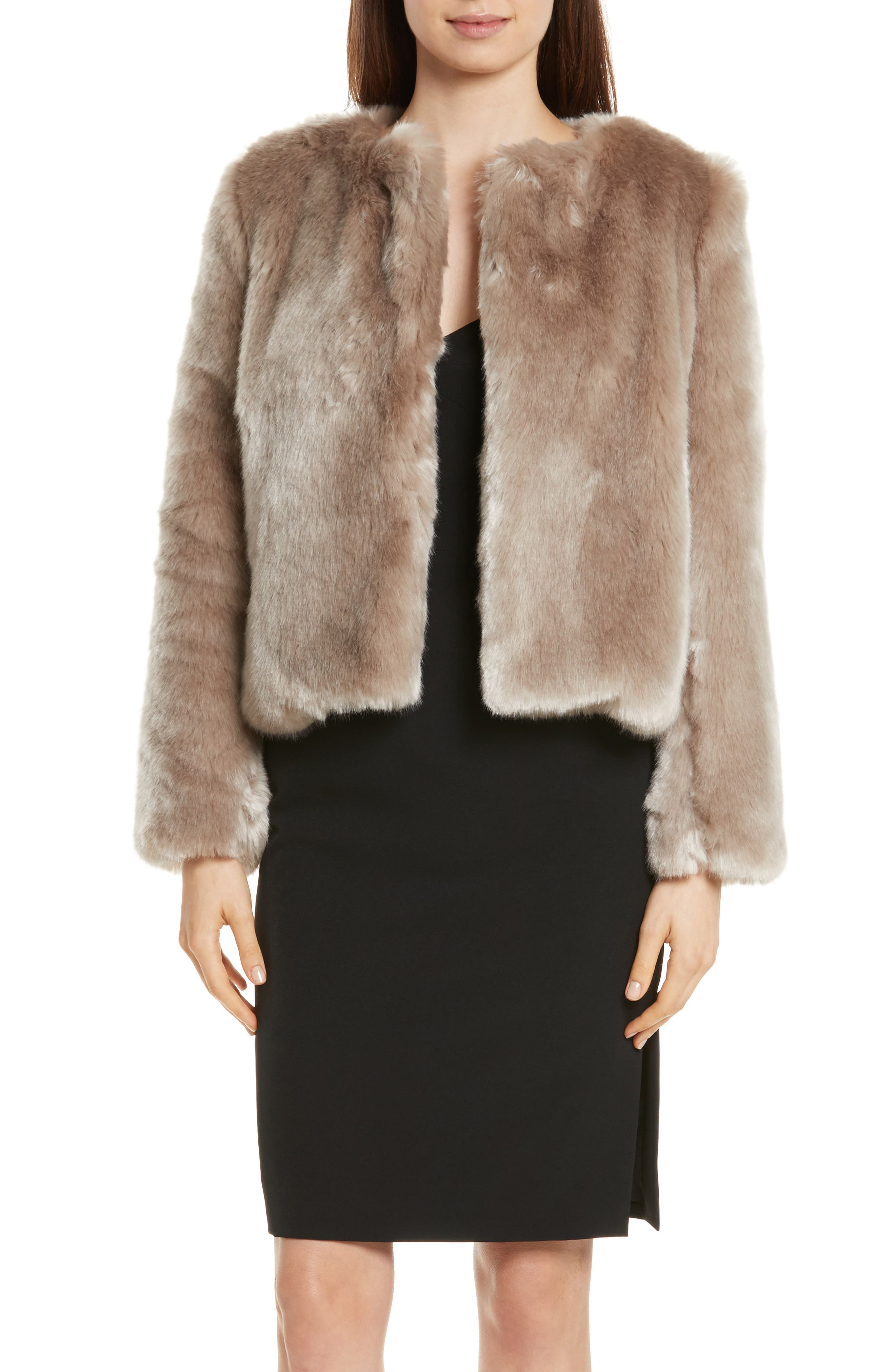 Faux Fur Jacket,                             Main thumbnail 1, color,                             Mink