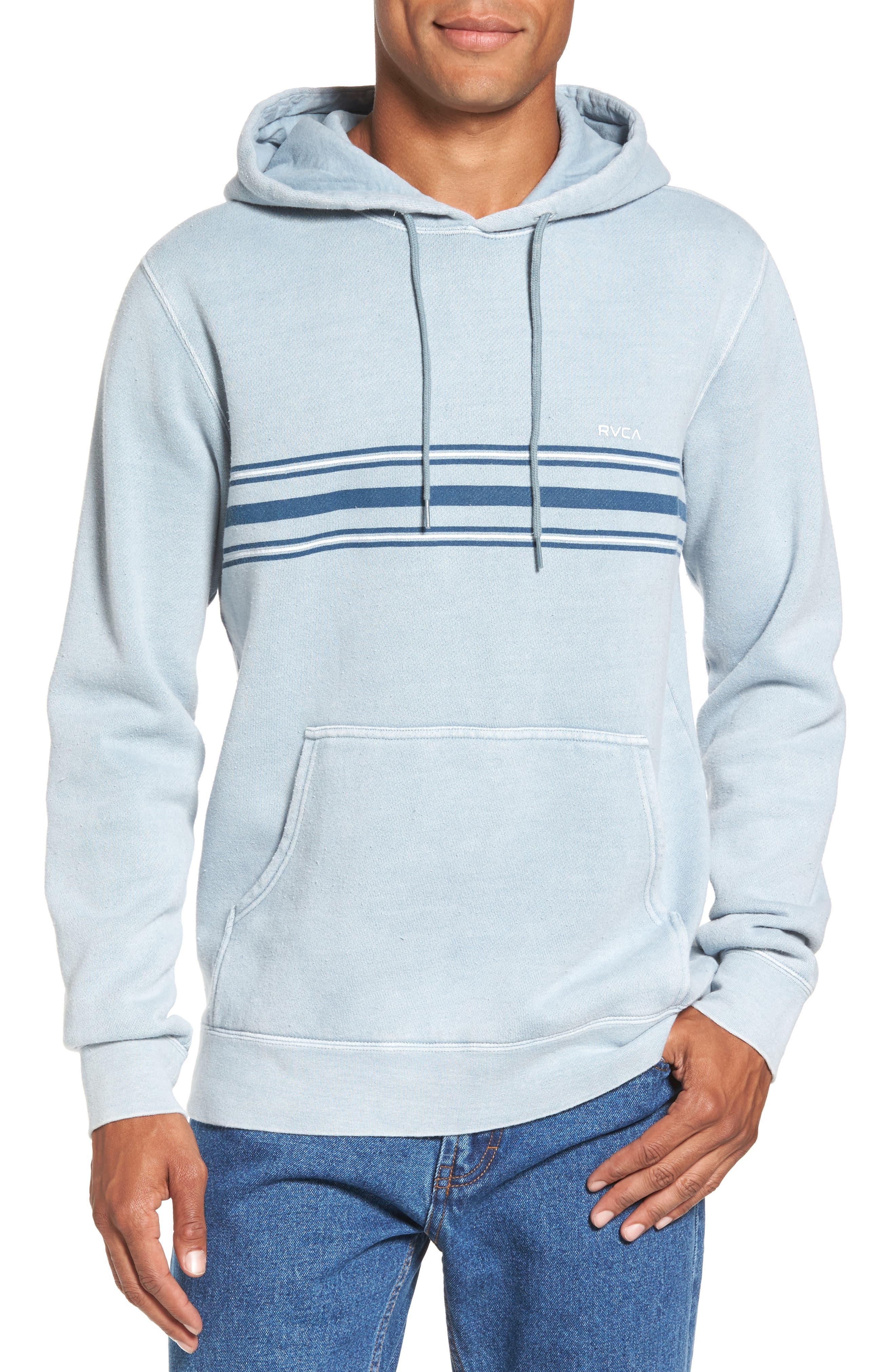 Seven Stripe Fleece Hoodie,                         Main,                         color, Arona Blue