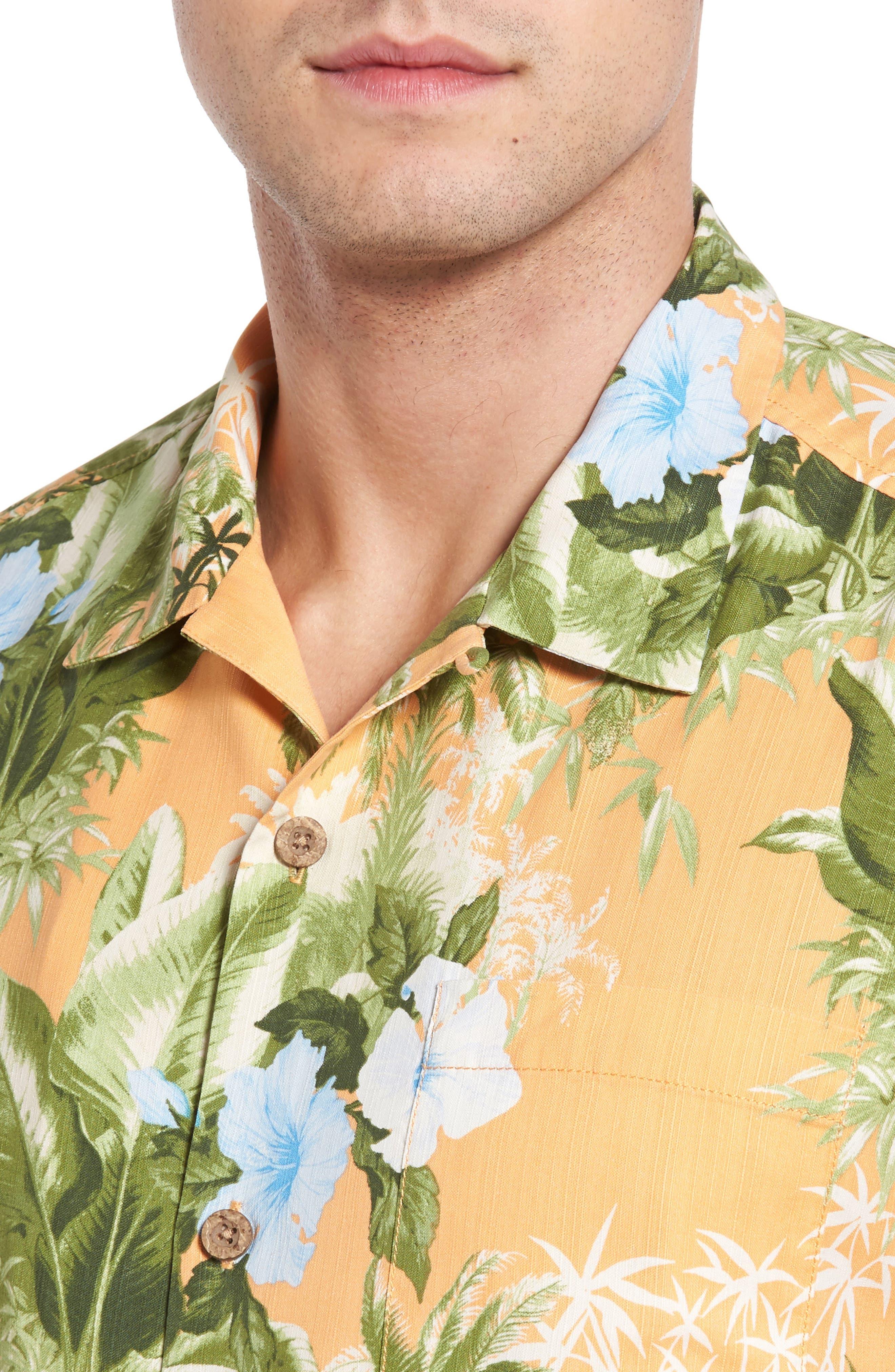 Alternate Image 4  - Tommy Bahama Corfu Jungle Silk Camp Shirt
