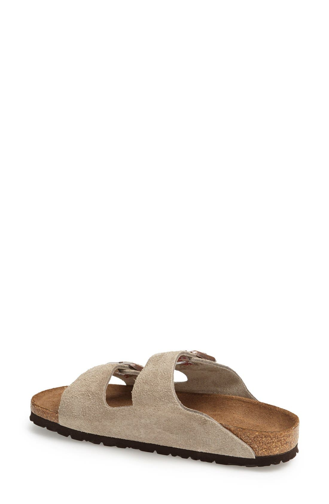 'Arizona' Soft Footbed Suede Sandal,                             Alternate thumbnail 2, color,                             Taupe Suede