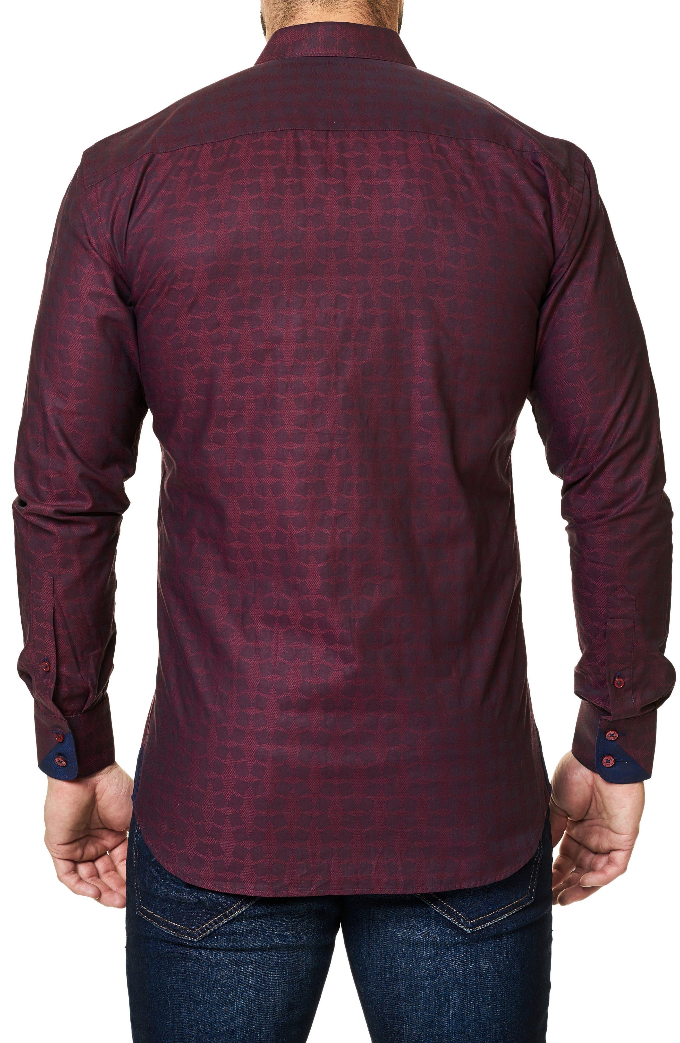 Trim Fit Print Sport Shirt,                             Alternate thumbnail 2, color,                             Burgundy