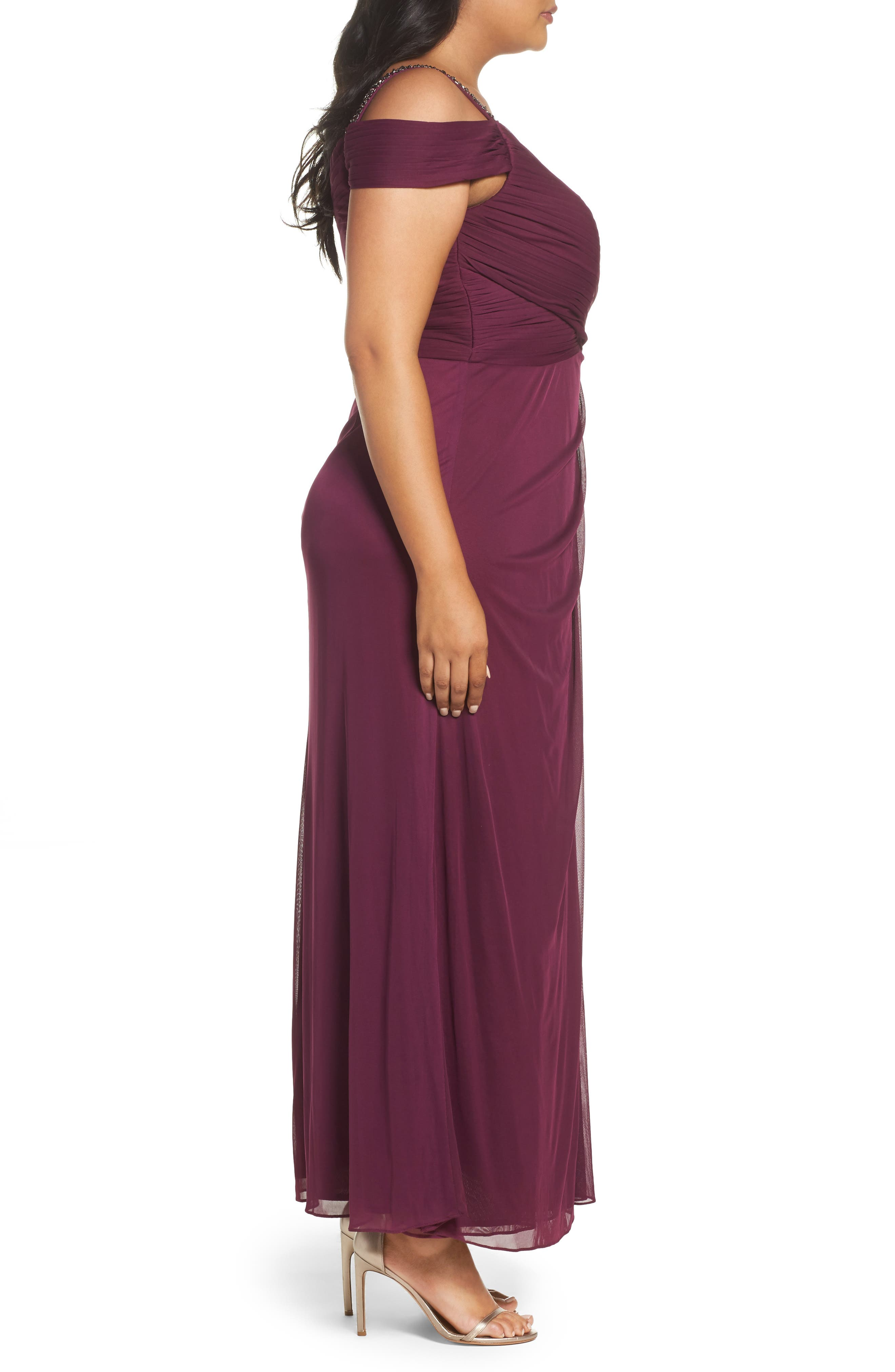 Alternate Image 3  - Alex Evenings Embellished Cold Shoulder Gown (Plus Size)