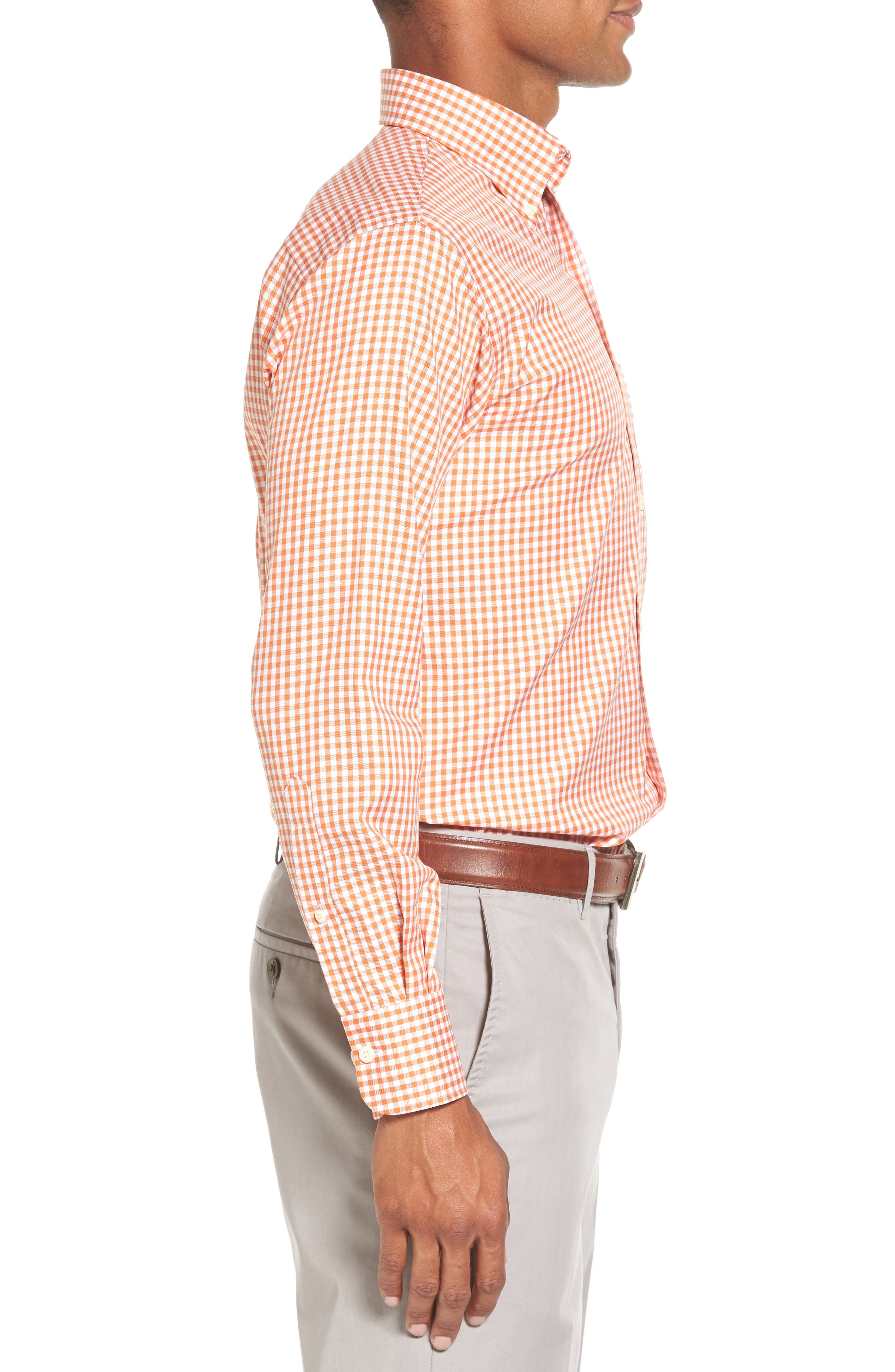 Texas Regular Fit Microcheck Sport Shirt,                             Alternate thumbnail 3, color,                             Rust