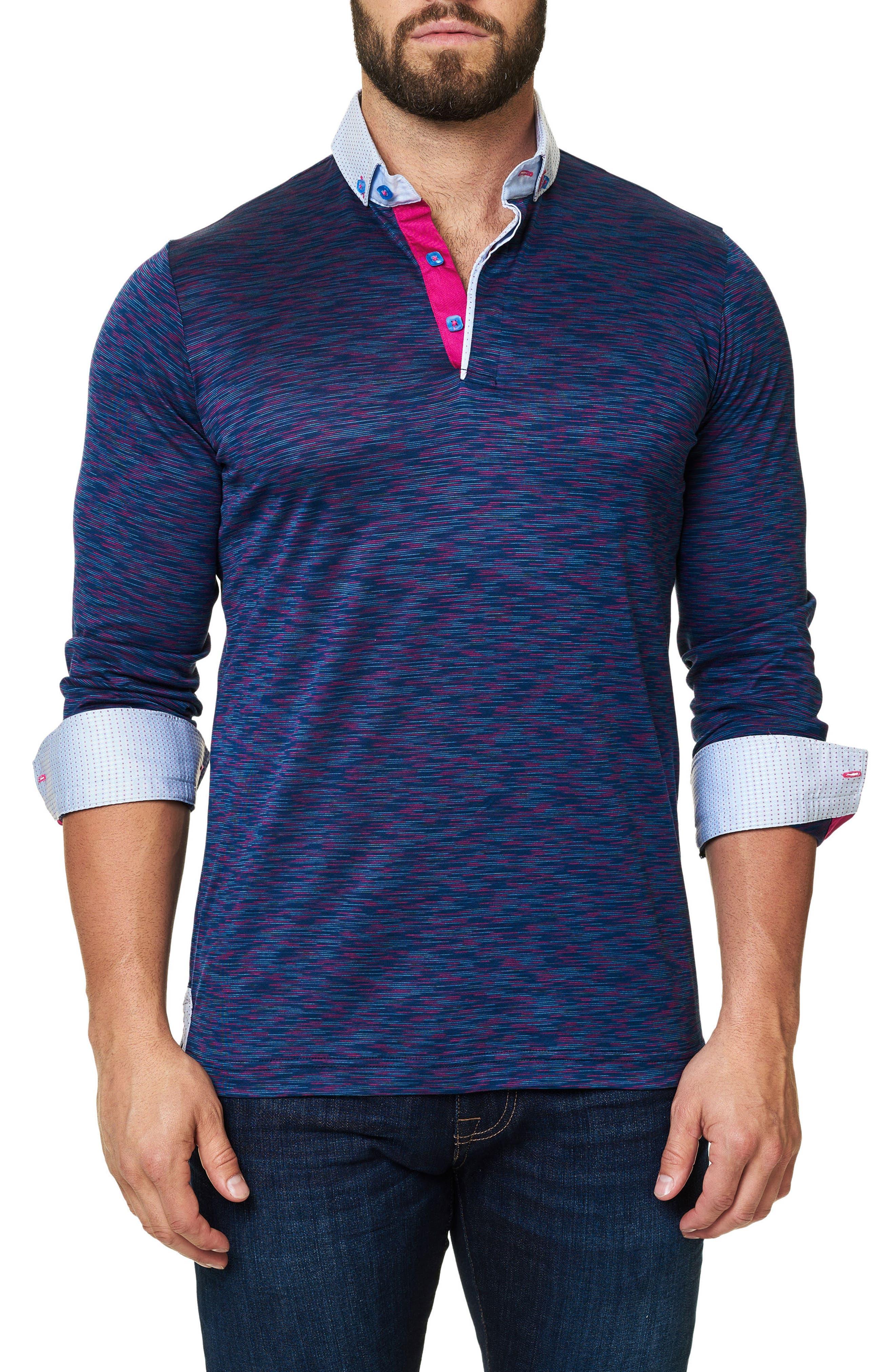 Mélange Long Sleeve Polo,                         Main,                         color, Purple