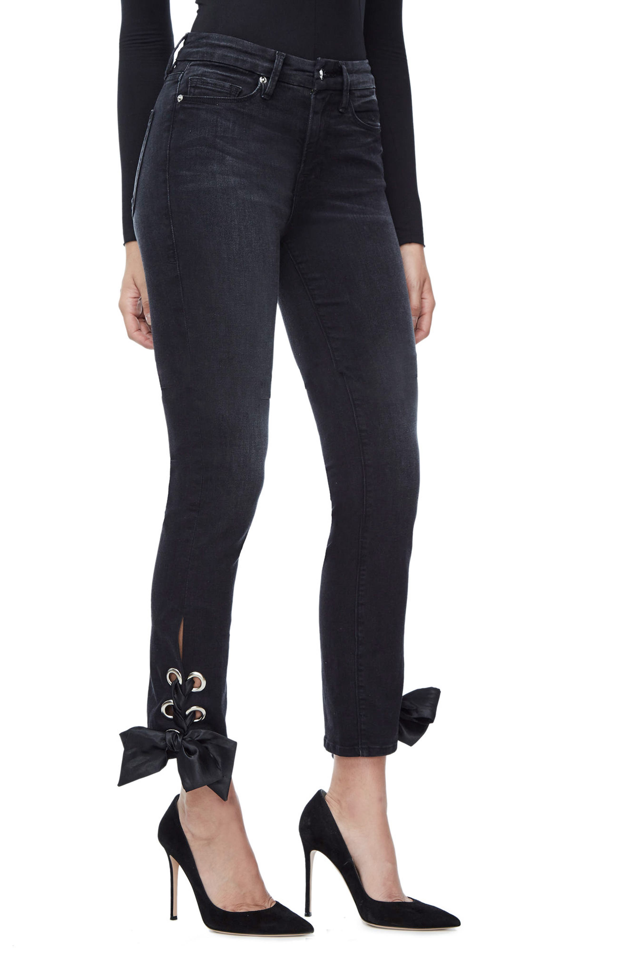 Alternate Image 3  - Good American Good Straight Ankle Lace Skinny Jeans (Black 010) (Extended Sizes)
