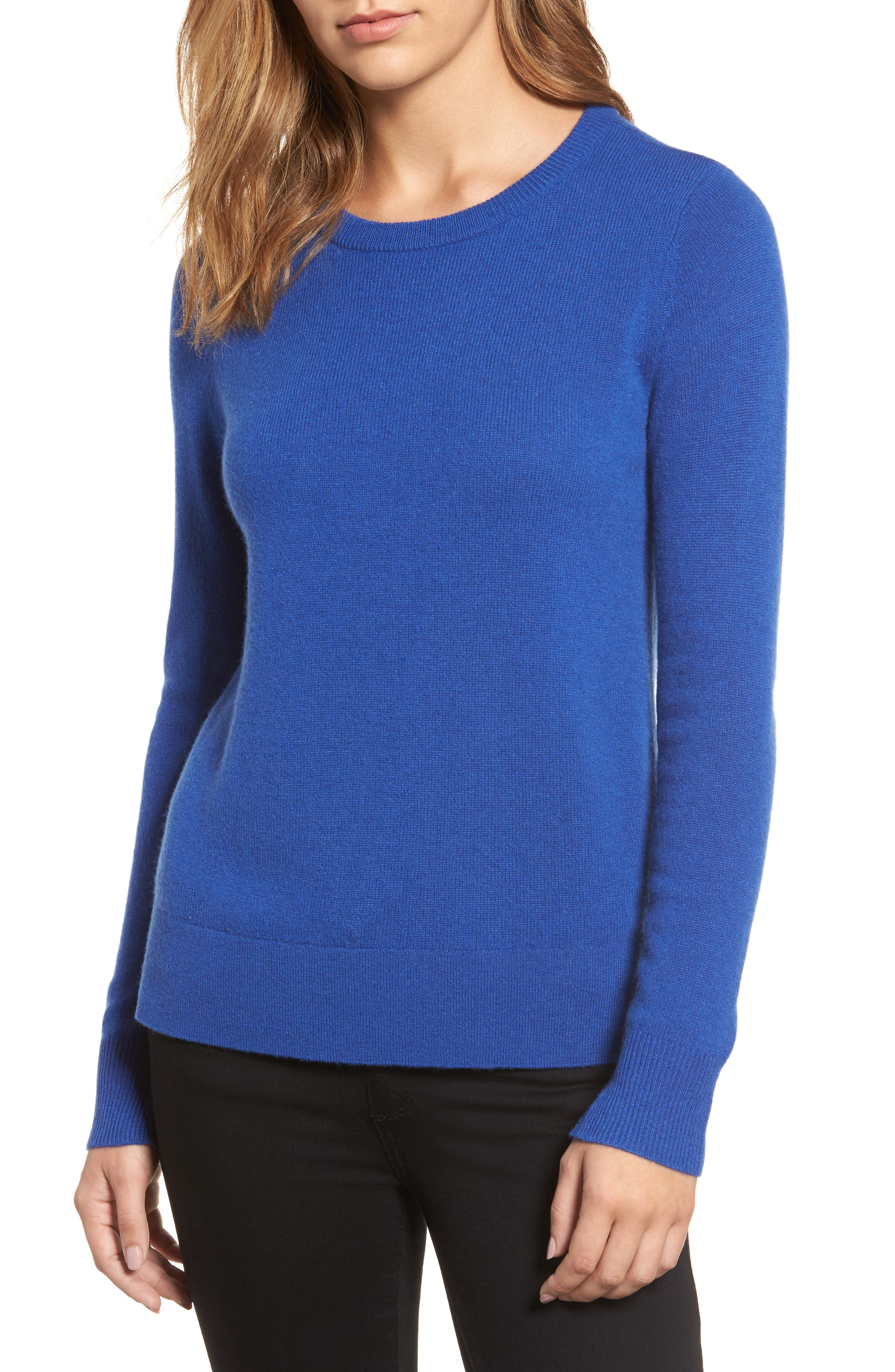Alternate Image 1 Selected - Halogen® Crewneck Cashmere Sweater (Regular & Petite)