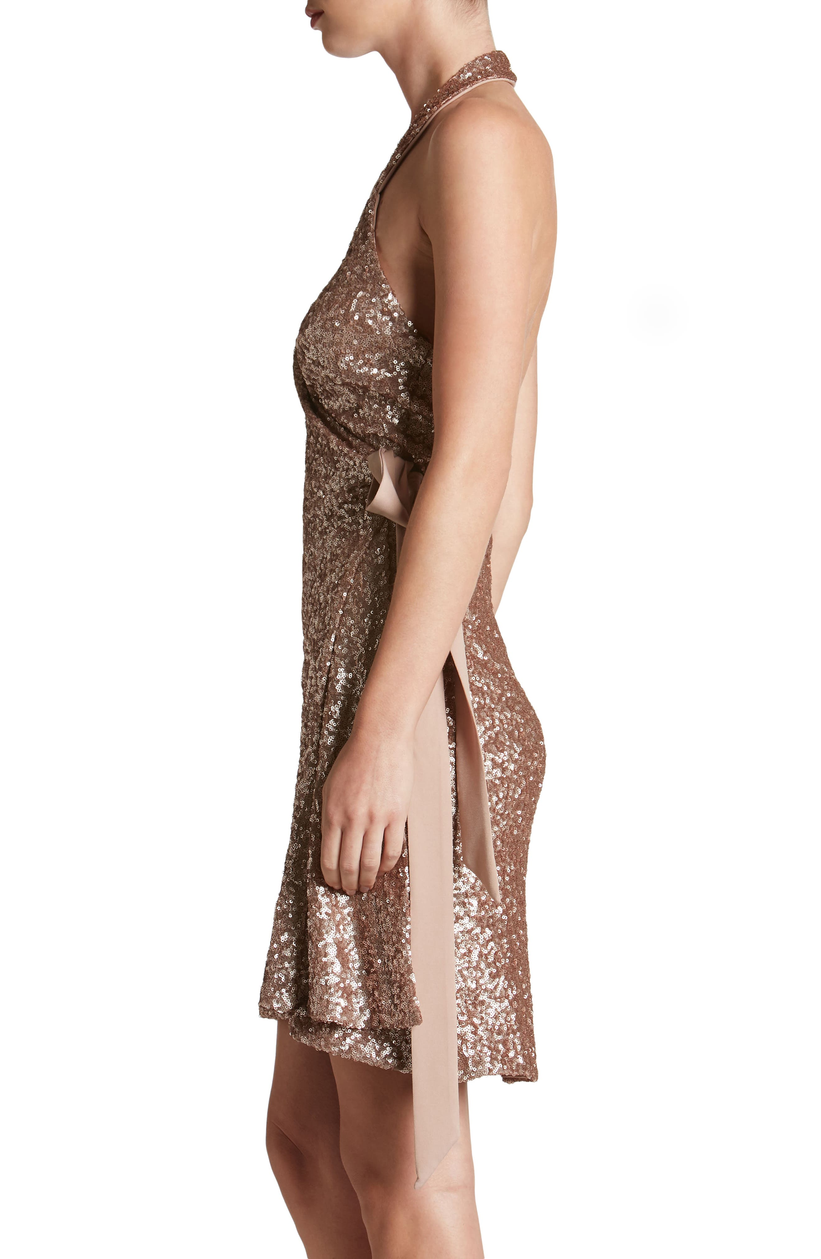 Alternate Image 3  - Dress the Population Danielle Sequin Wrap Mini Dress