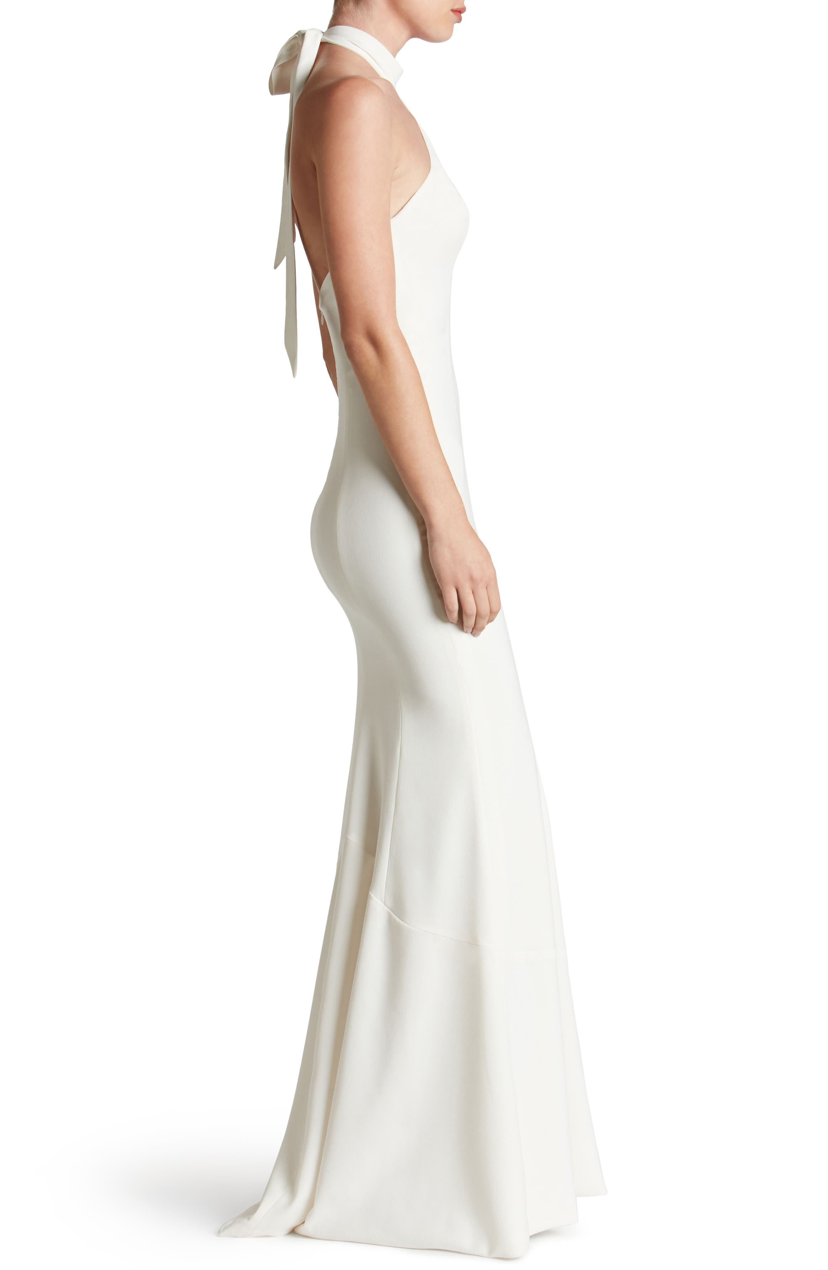 Taylor Crepe Halter Gown,                             Alternate thumbnail 3, color,                             Off White