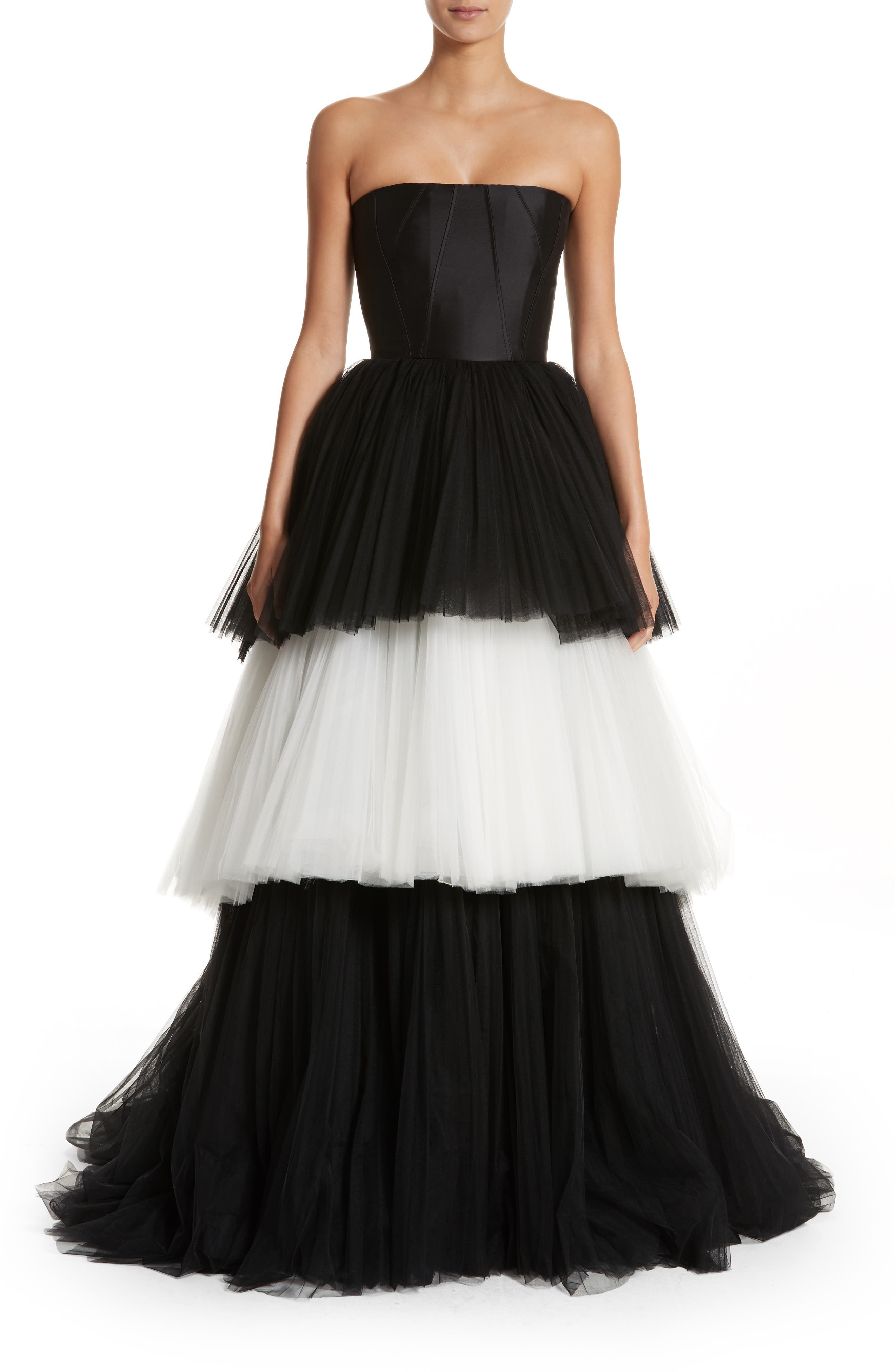 Strapless Layered Tulle Gown,                             Main thumbnail 1, color,                             Black/White