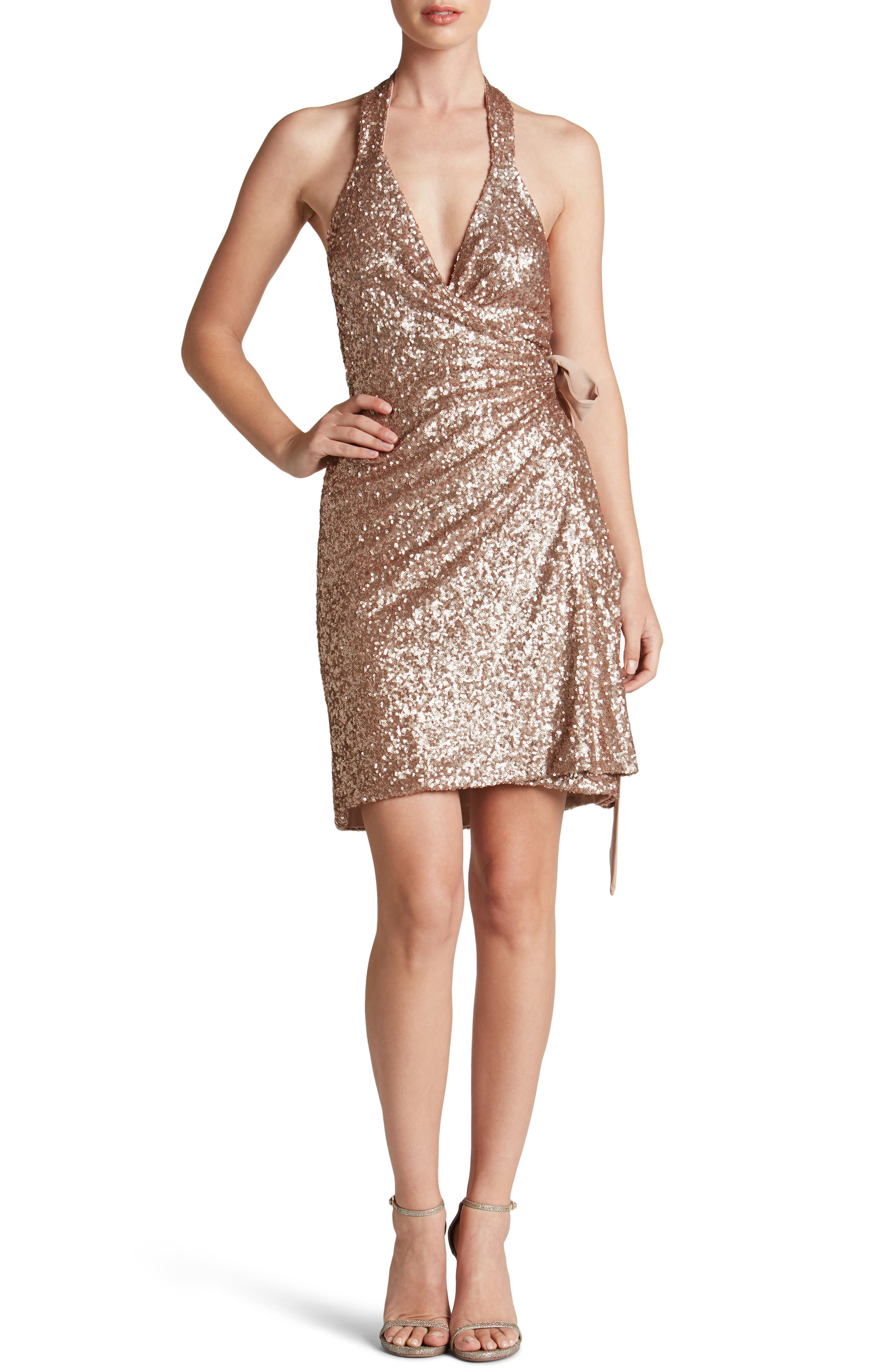Main Image - Dress the Population Danielle Sequin Wrap Mini Dress