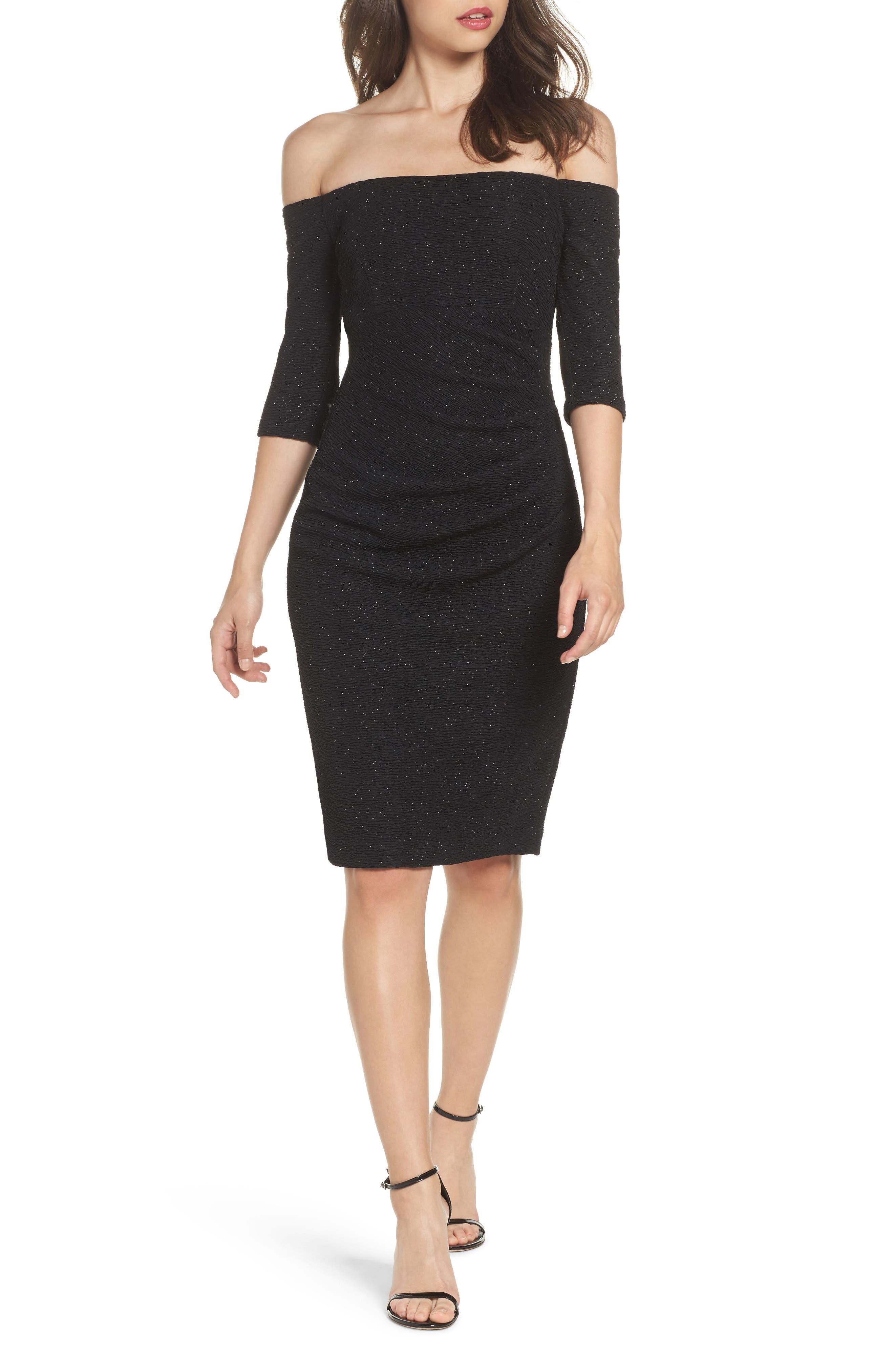 Eliza J Sparkle Knit Off the Shoulder Dress
