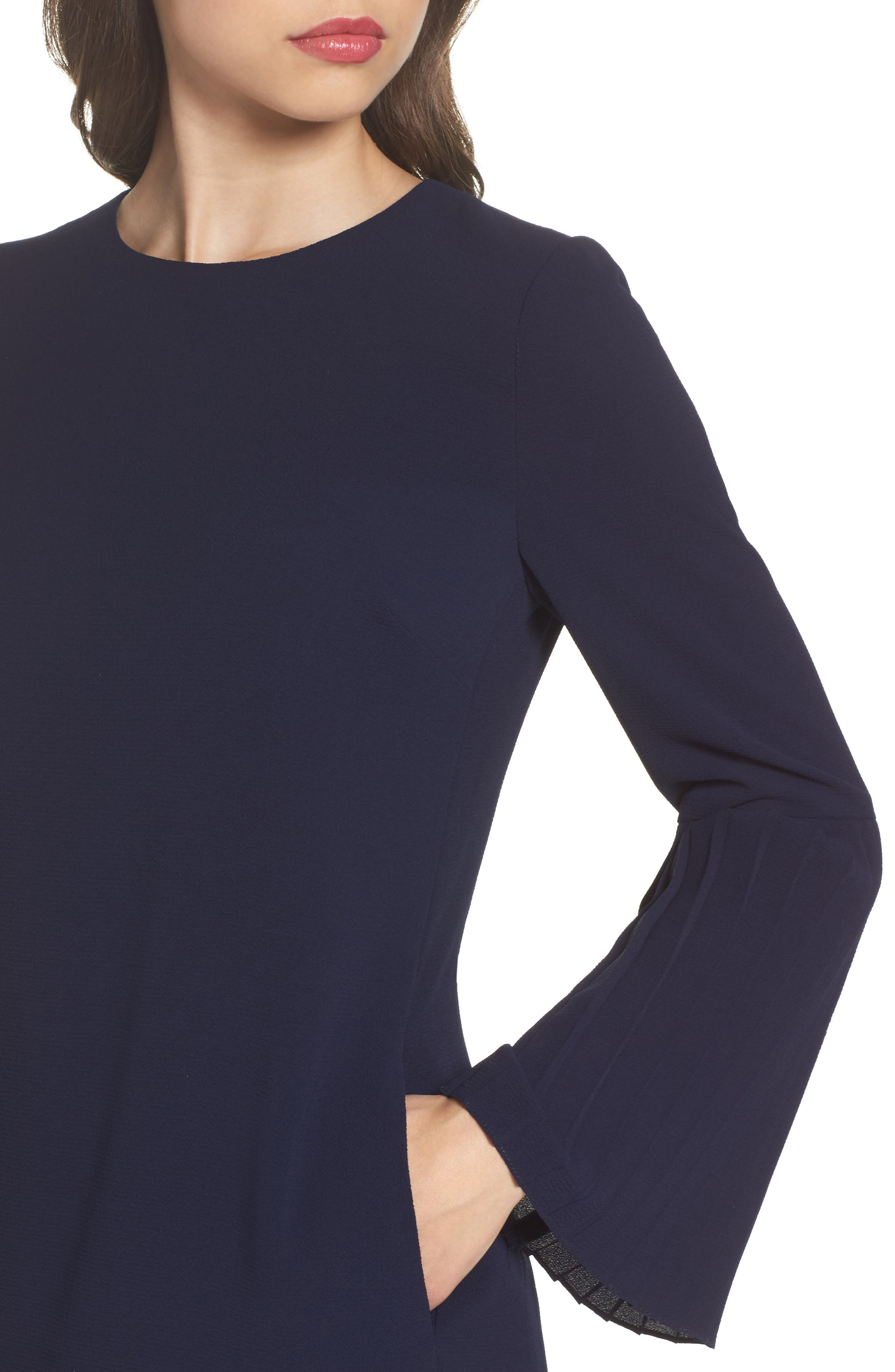 Bell Sleeve Shift Dress,                             Alternate thumbnail 4, color,                             Galaxy Blue