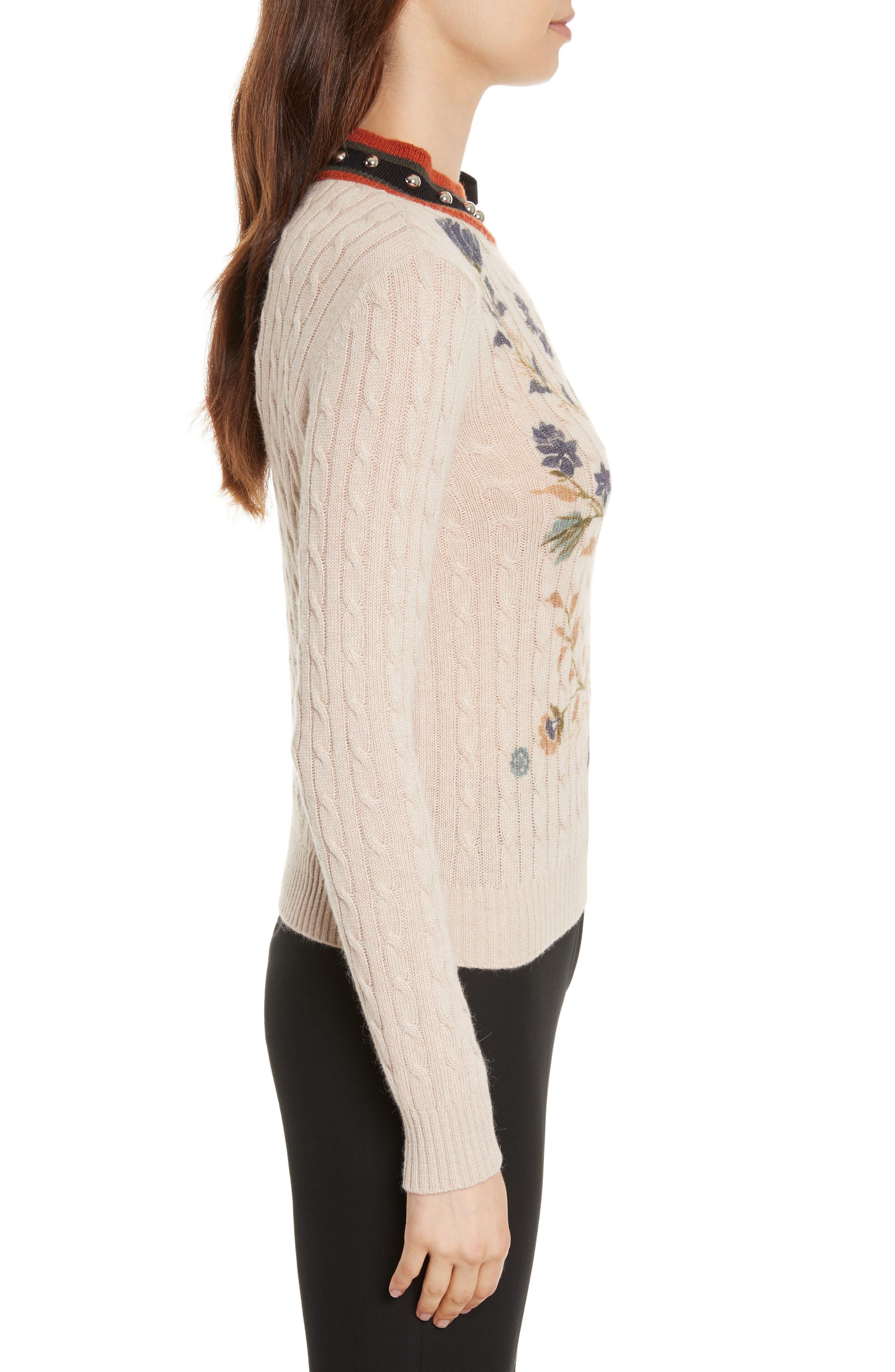 Printed Wool & Angora Blend Sweater,                             Alternate thumbnail 3, color,                             Deserto Chiaro