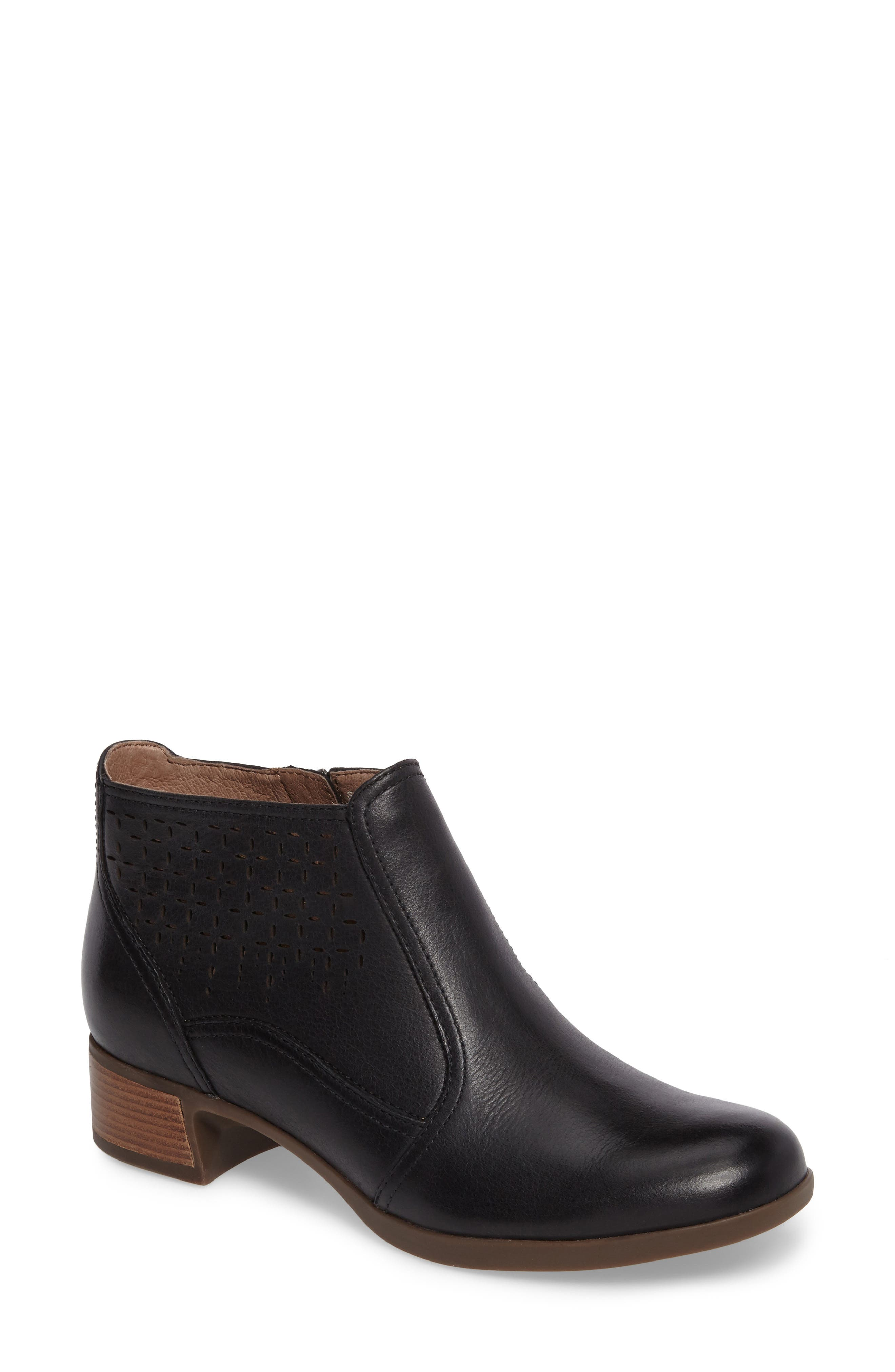 Liberty Laser Cut Bootie,                             Main thumbnail 1, color,                             Black Burnished Nappa Leather