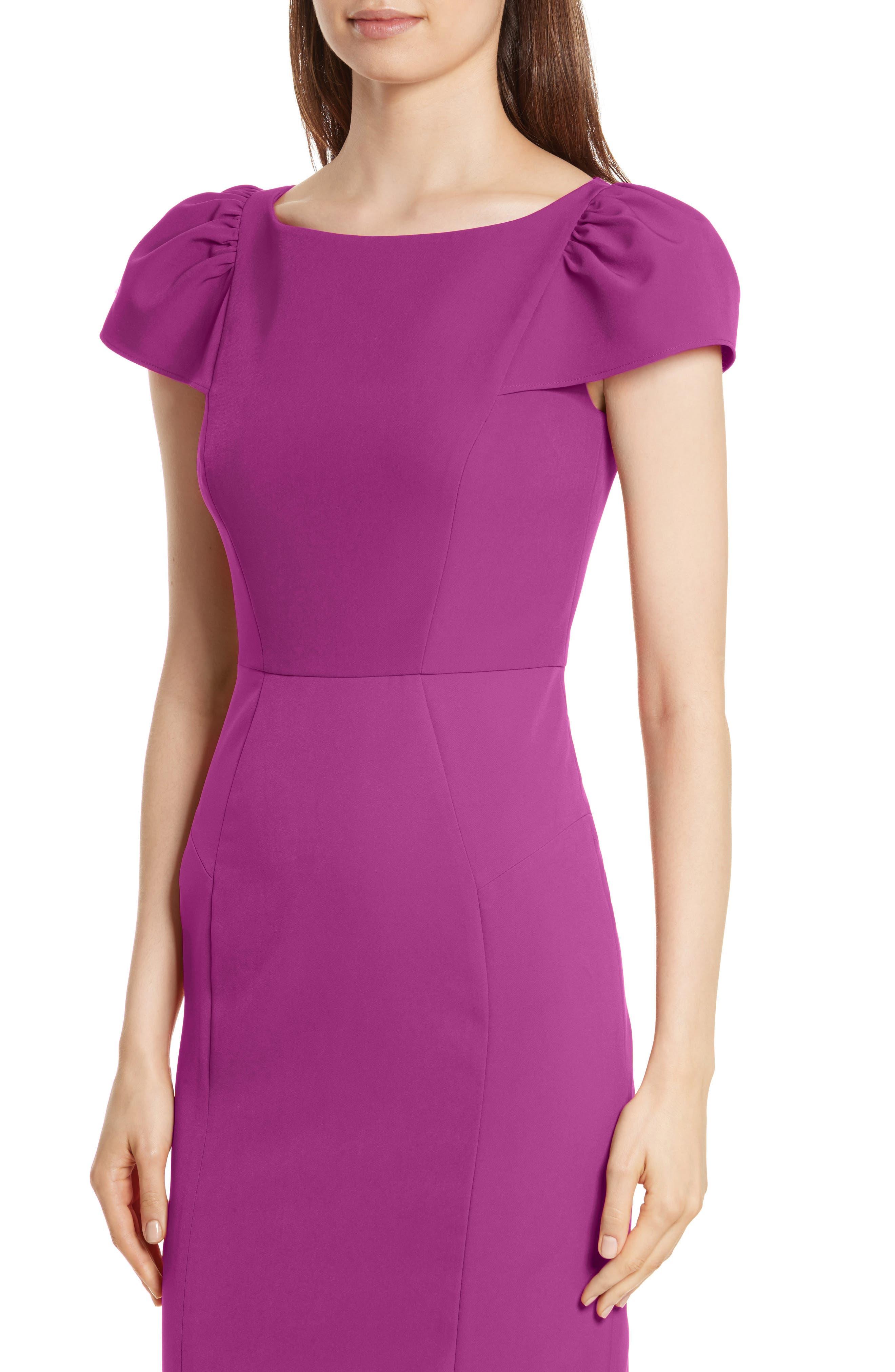 Italian Cady Gathered Sleeve Sheath Dress,                             Alternate thumbnail 4, color,                             Berry