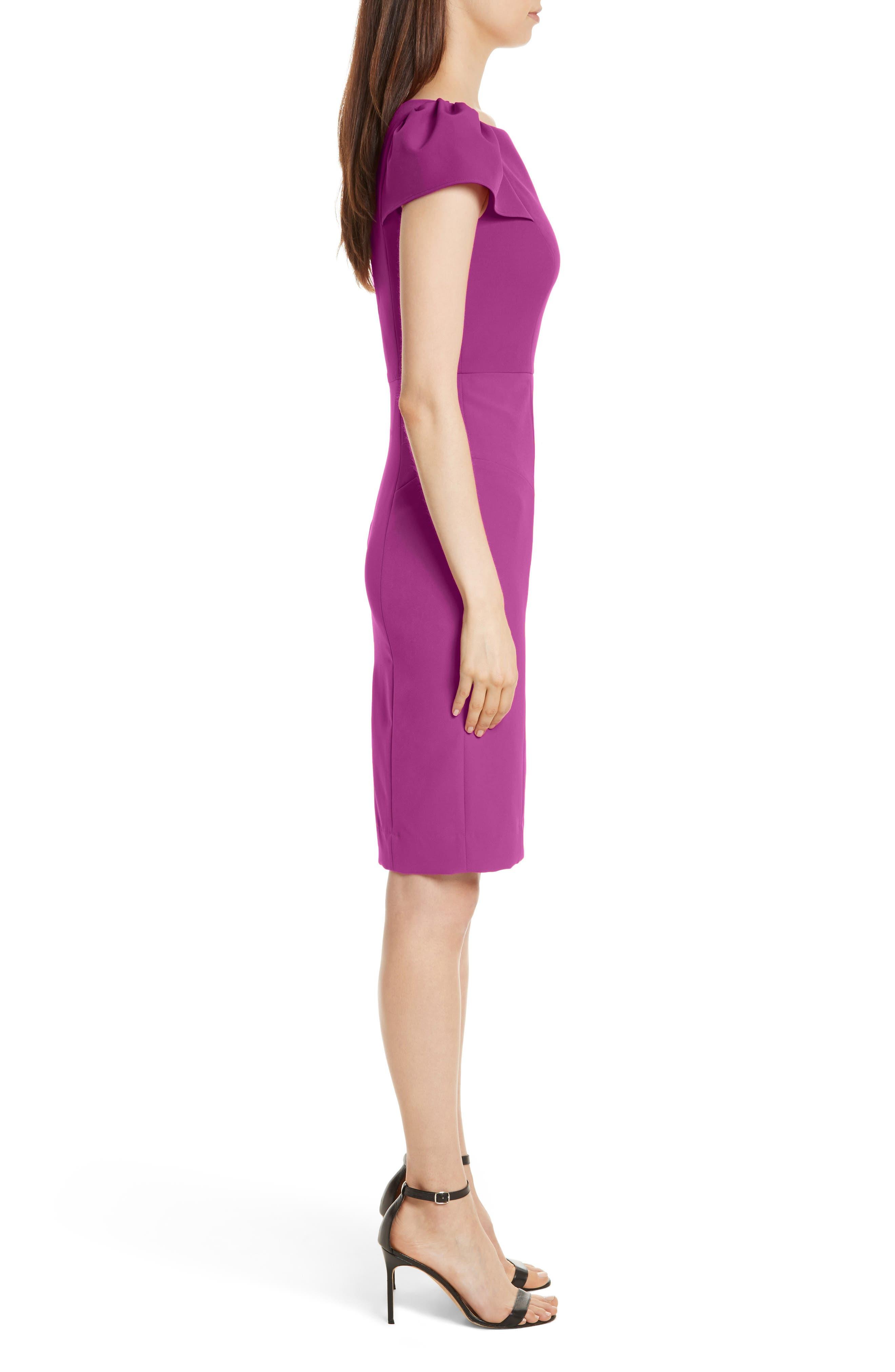 Italian Cady Gathered Sleeve Sheath Dress,                             Alternate thumbnail 3, color,                             Berry