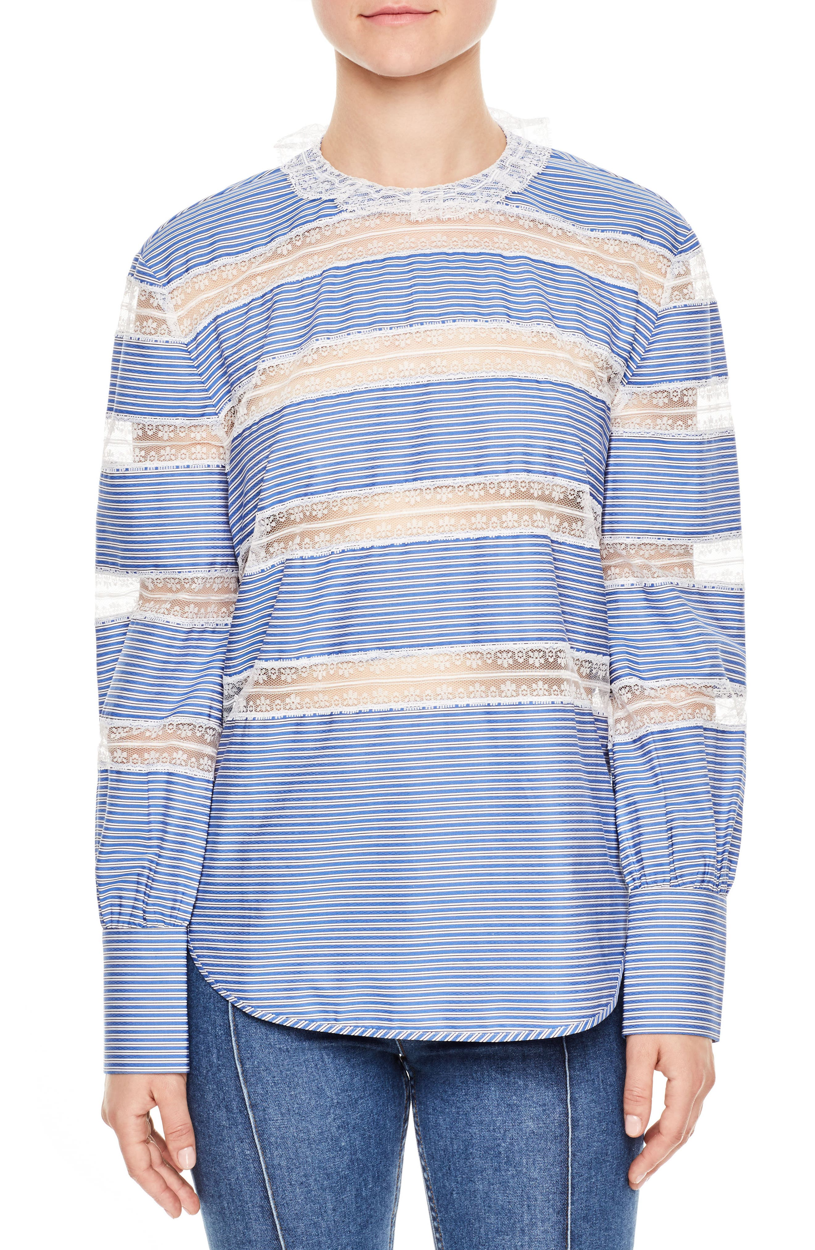 Lace Inset Stripe Poplin Blouse,                         Main,                         color, Blue