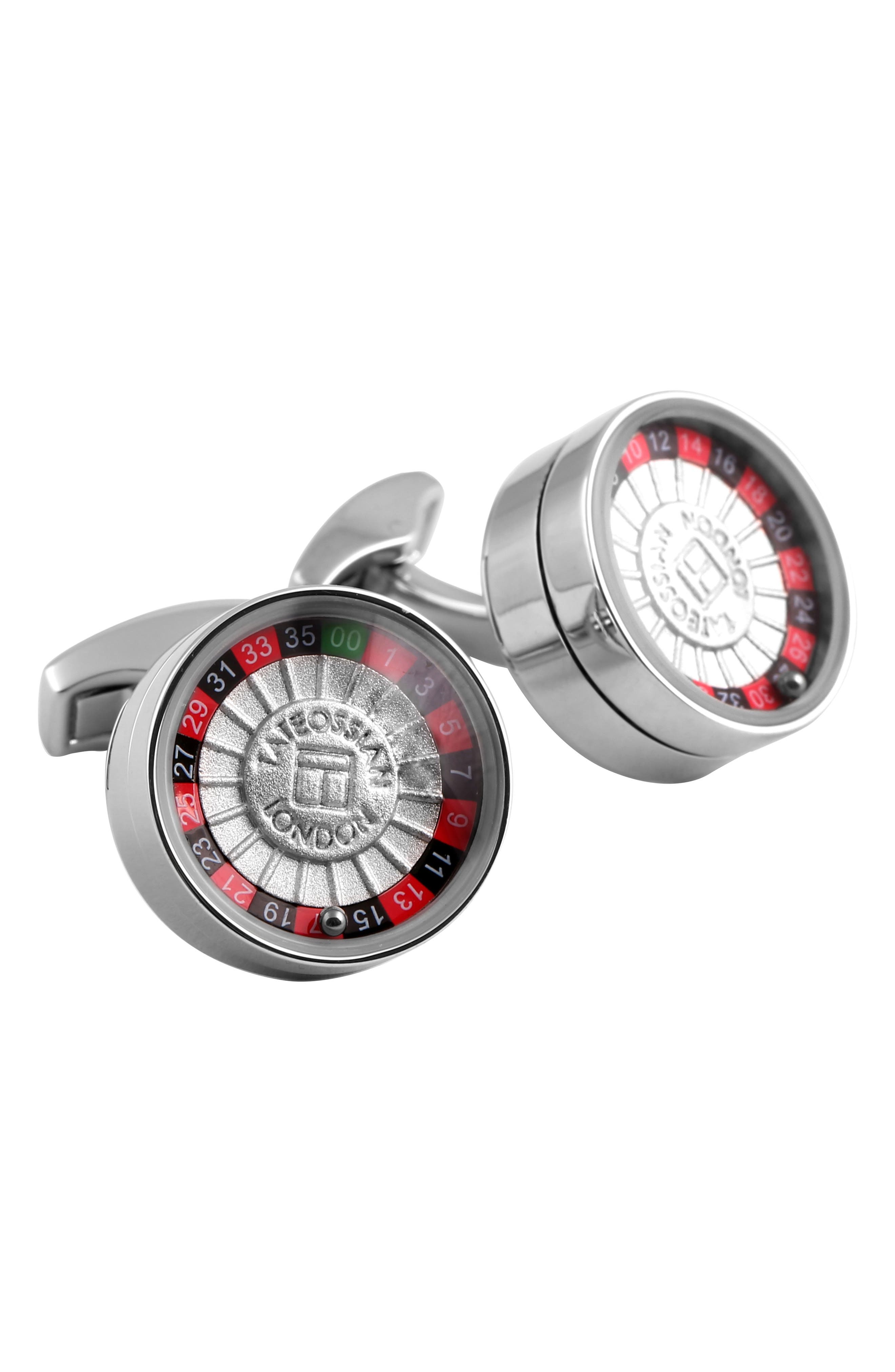 Roulette Cuff Links,                             Main thumbnail 1, color,                             Silver