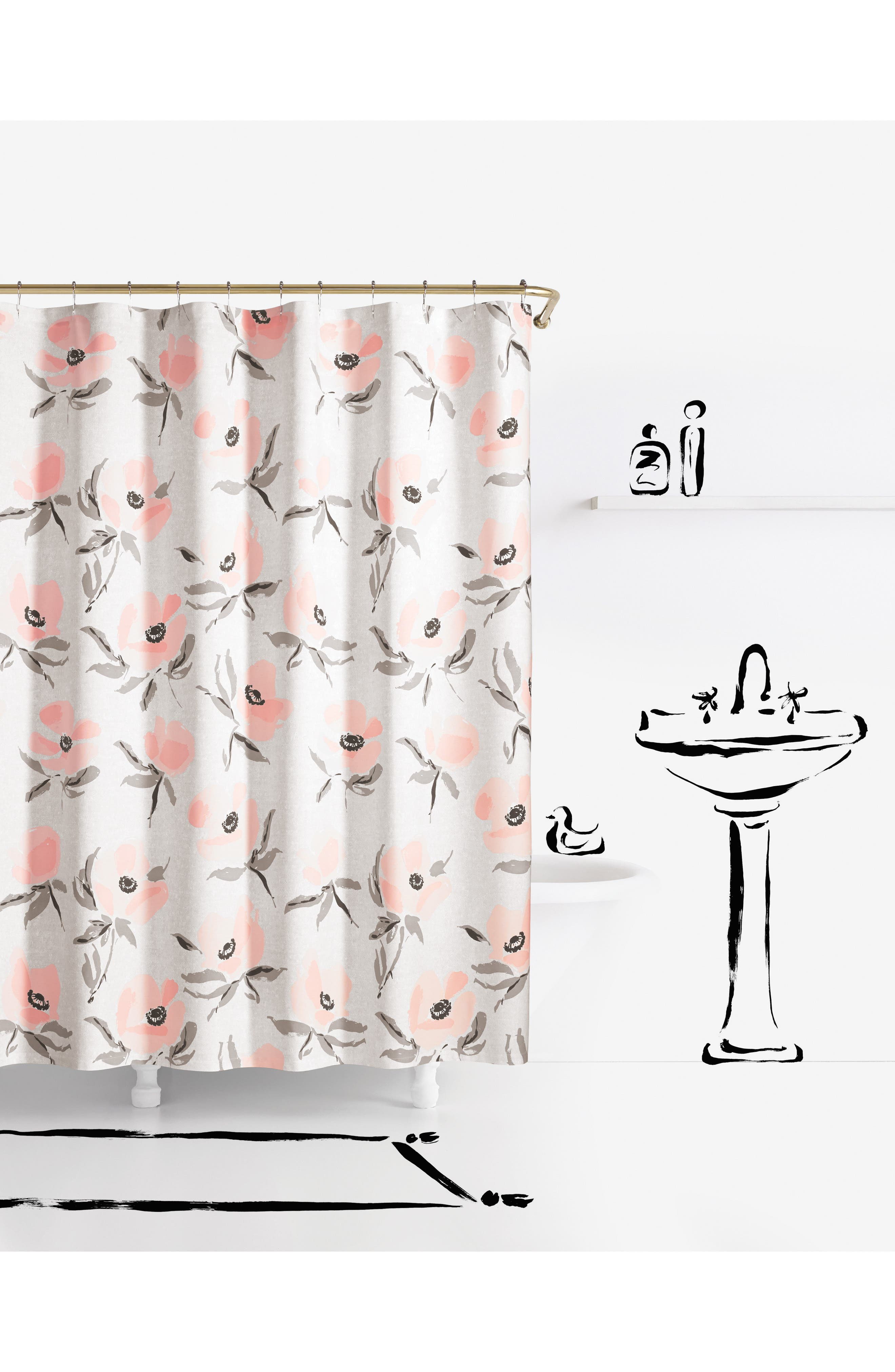 poppies shower curtain,                             Main thumbnail 1, color,                             Pink
