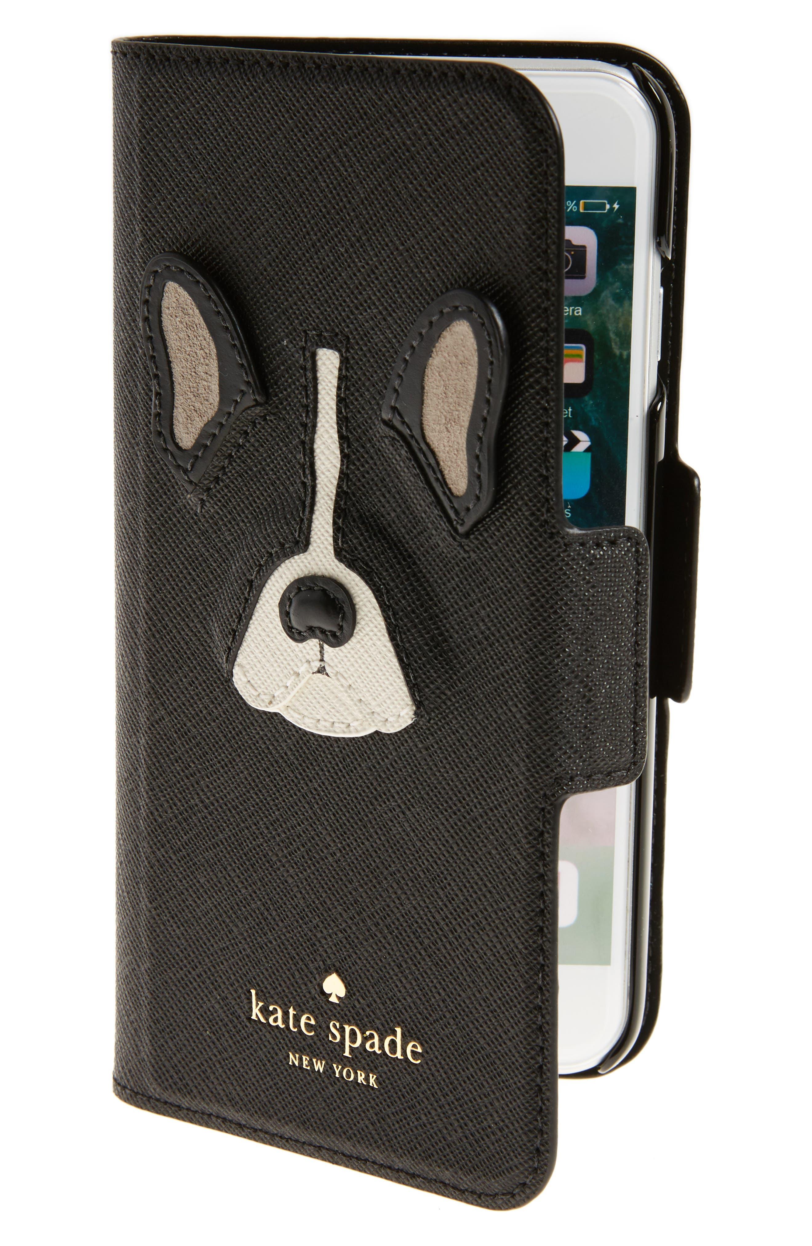 antoine appliqué leather iPhone 7/8 folio case,                             Main thumbnail 1, color,                             Black Multi