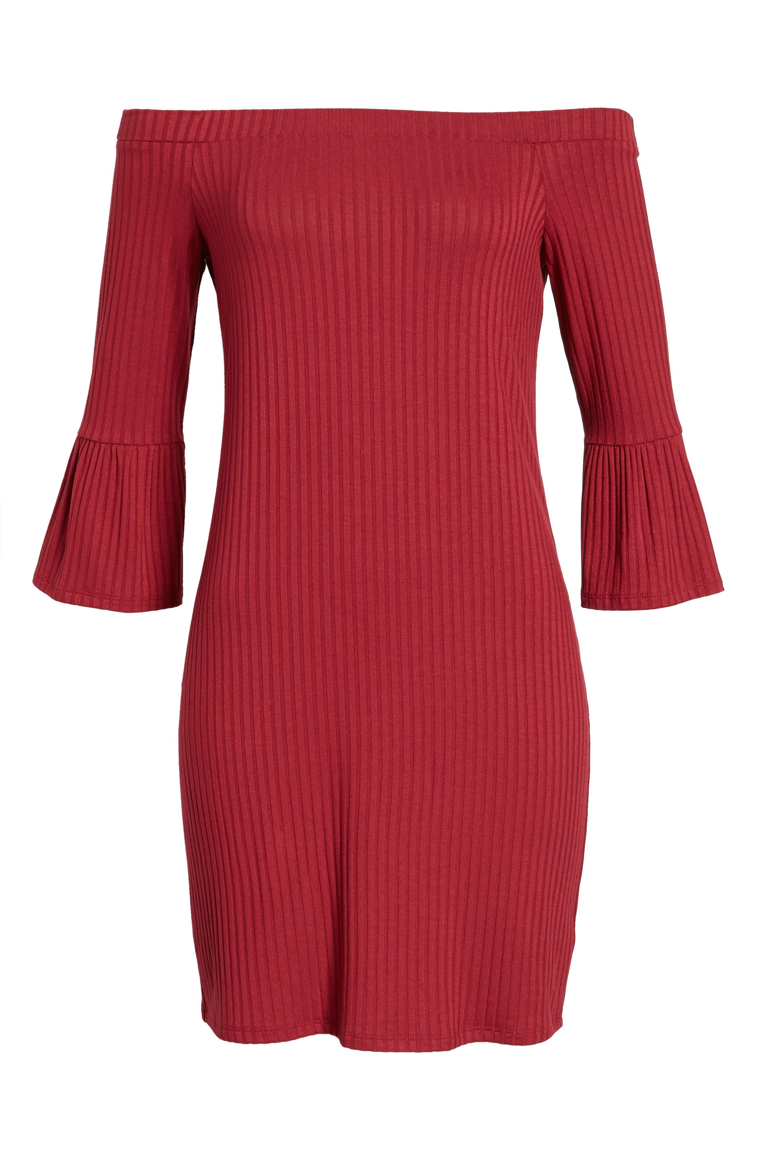 Alternate Image 6  - One Clothing Off the Shoulder Rib Knit Dress